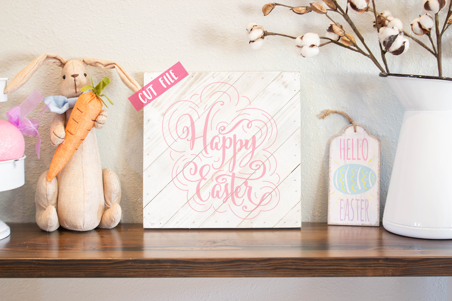 Happy Easter - Easter Design - SVG DXF PNG digital Cut files example image 2