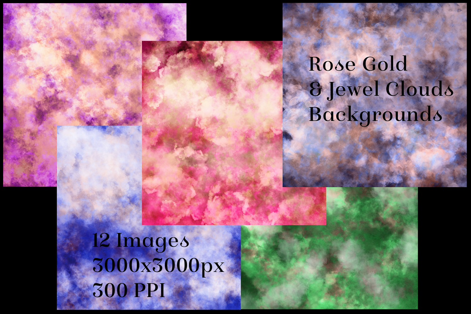 Rose Gold and Jewel Colour Clouds Backgrounds - 12 Image Set example image 2