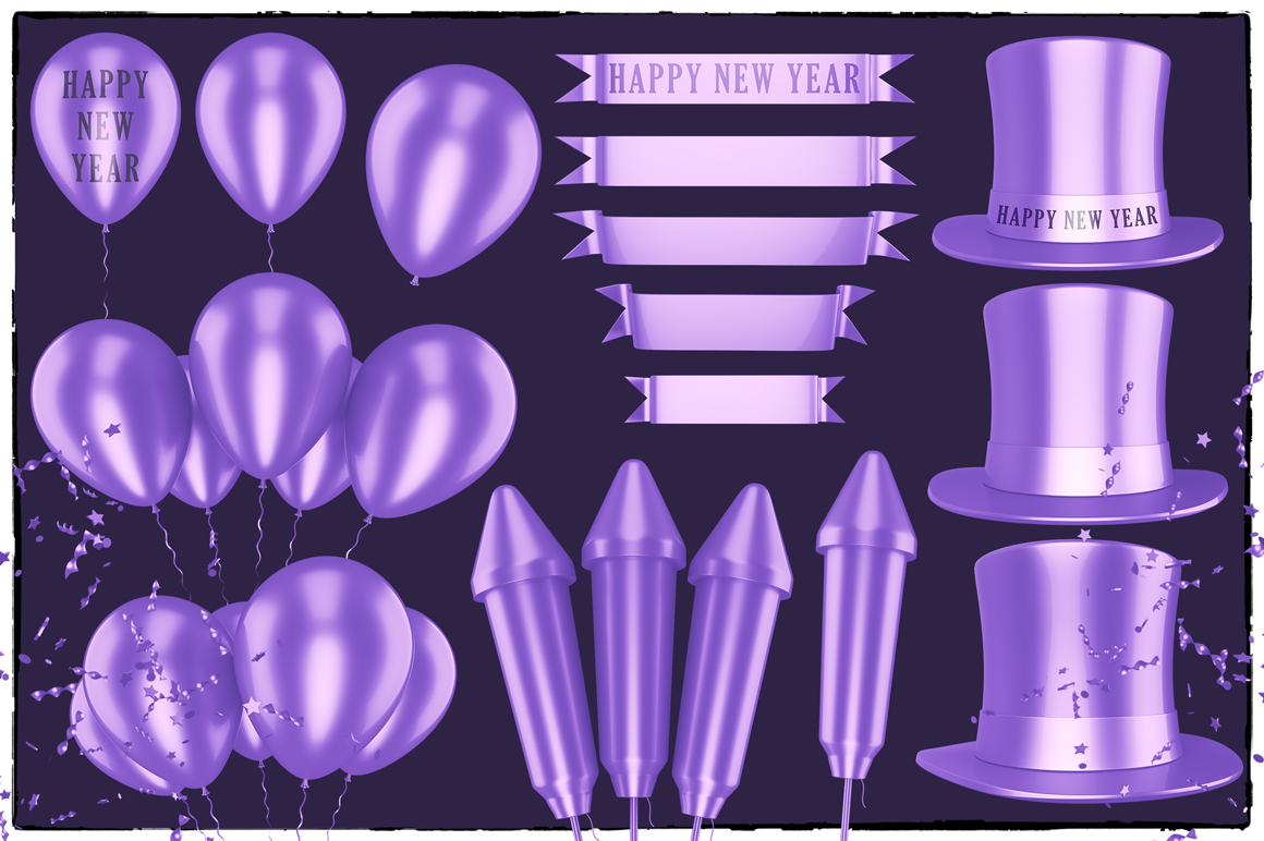 New Year 3D PNG Items Pack example image 17