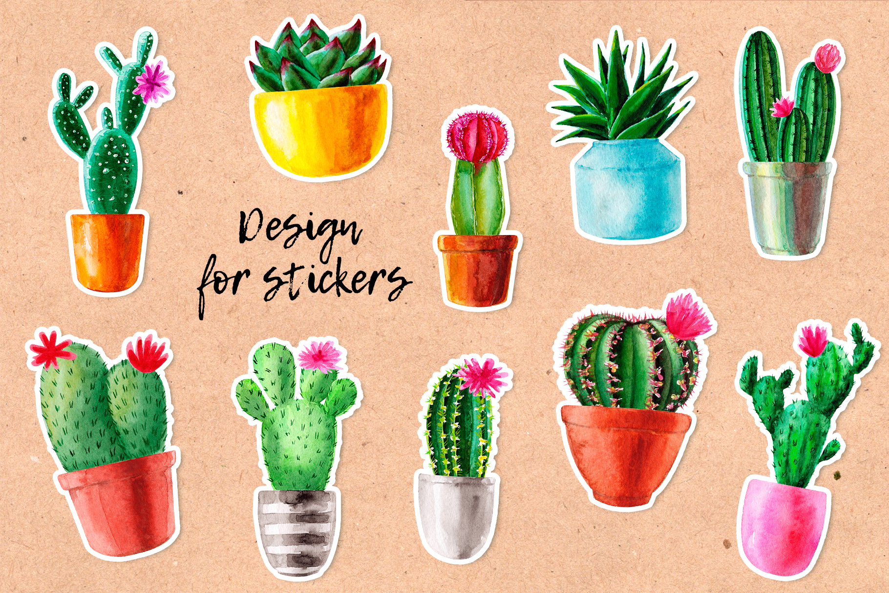 Watercolor Cactus. Cacti Patterns example image 3