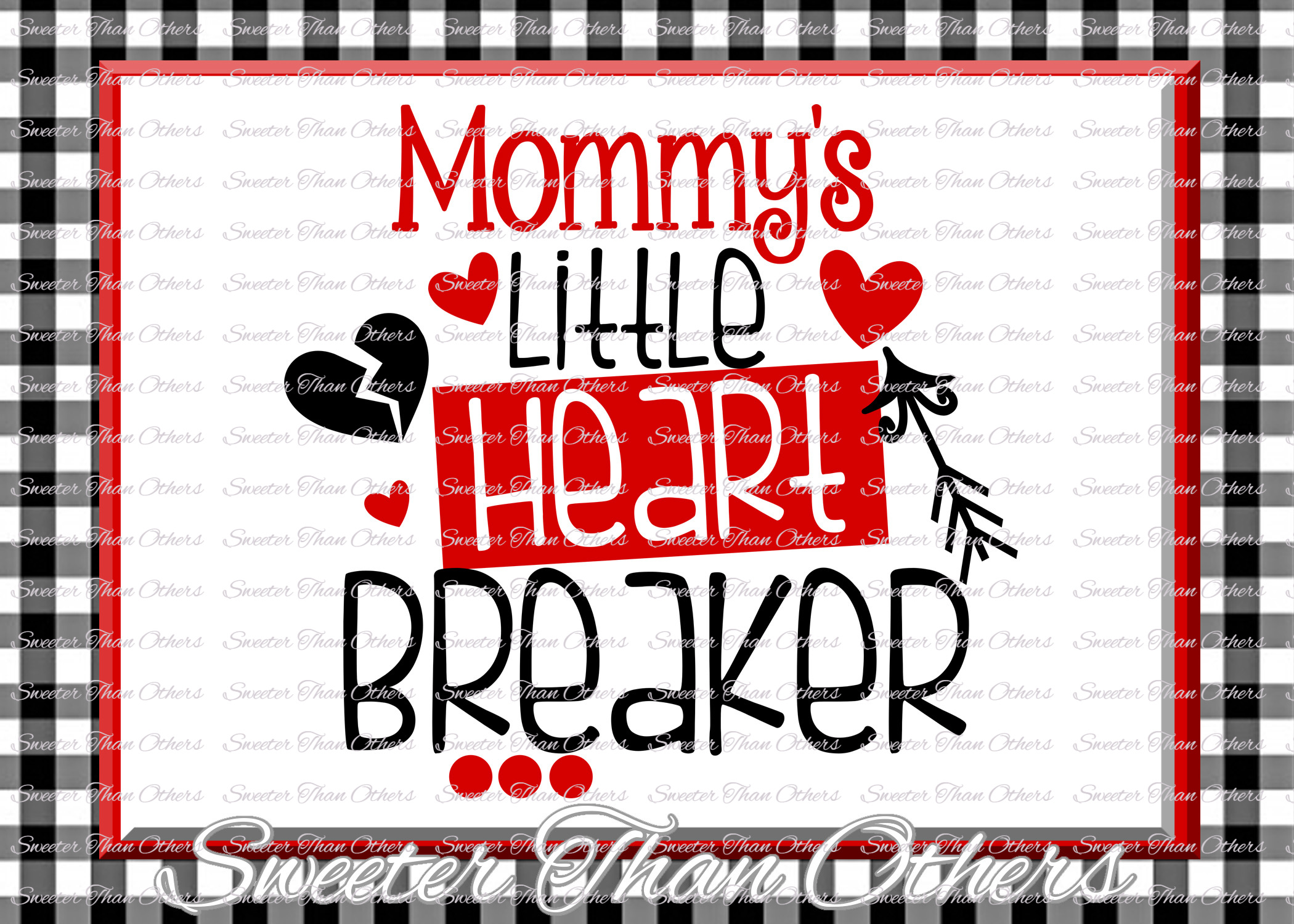 Mommys Little Heart Breaker Svg Silhouette Valentines svg example image 1