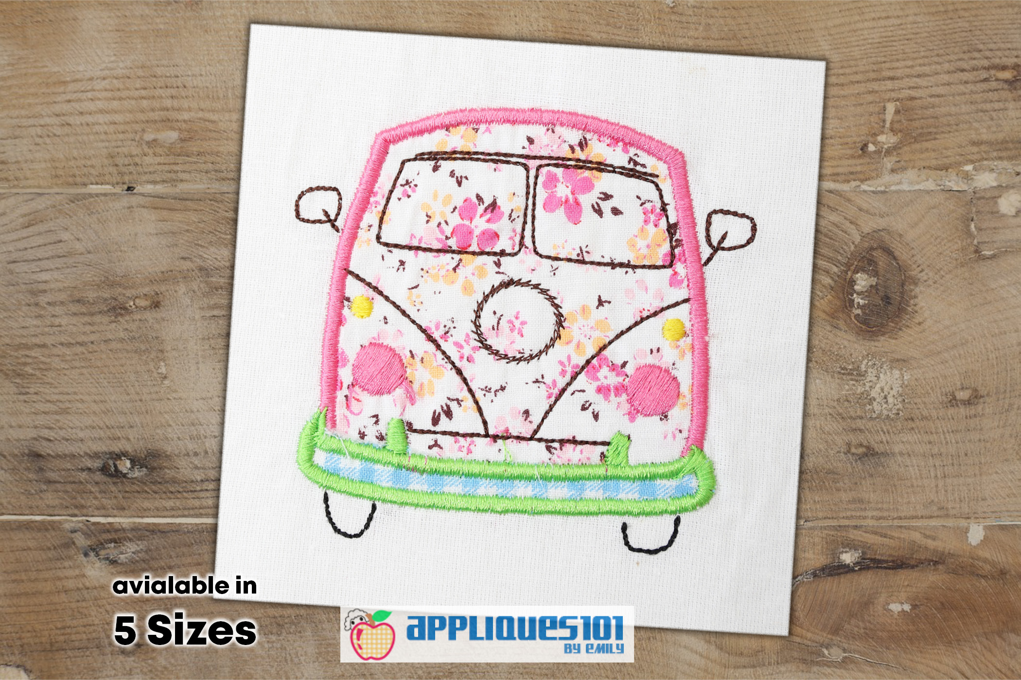 Vintage Camper Bus Embroidery Applique Design - Buses example image 1
