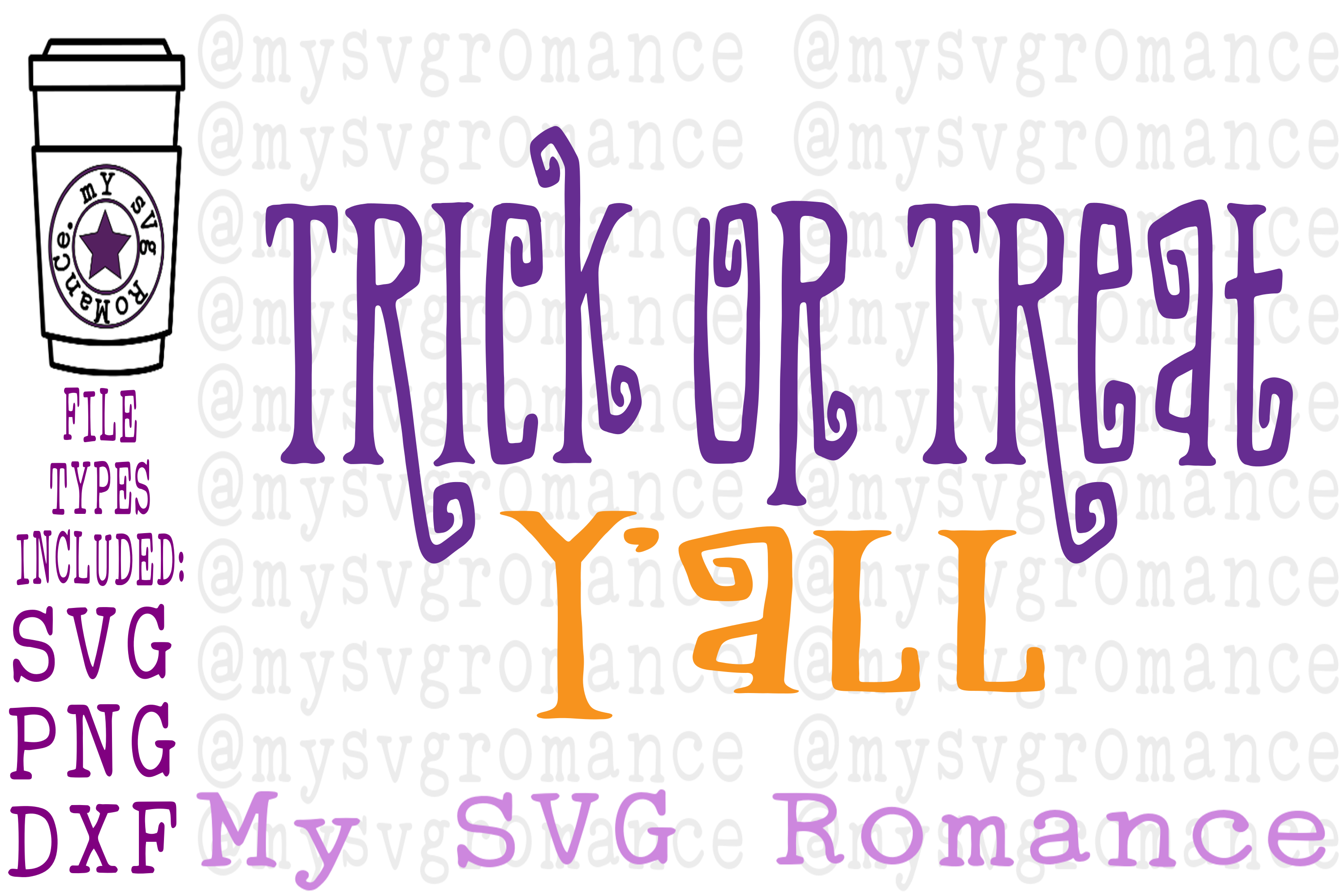 Trick Or Treat Y'all Halloween SVG PNG DXF example image 1