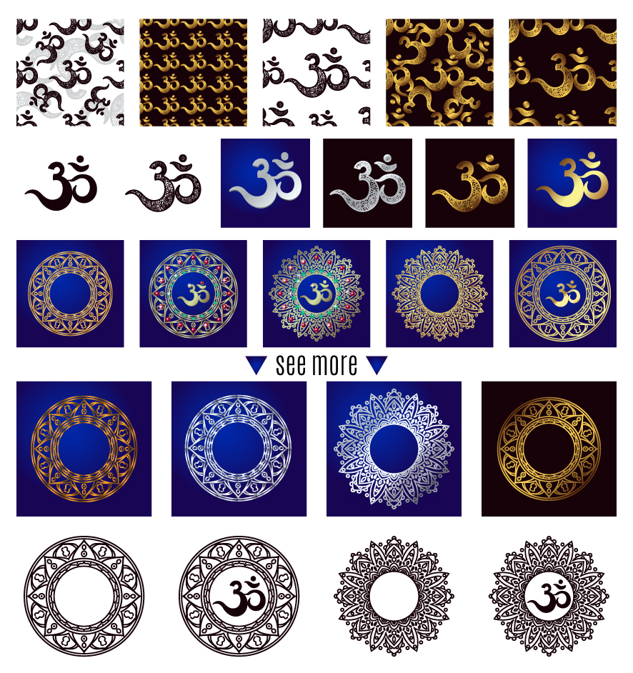 The sacred symbol Om, Mandala. Set. example image 4