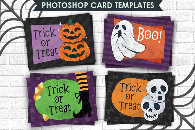 Halloween Card Photoshop Templates, 4,25 x5,5 inch example image 1