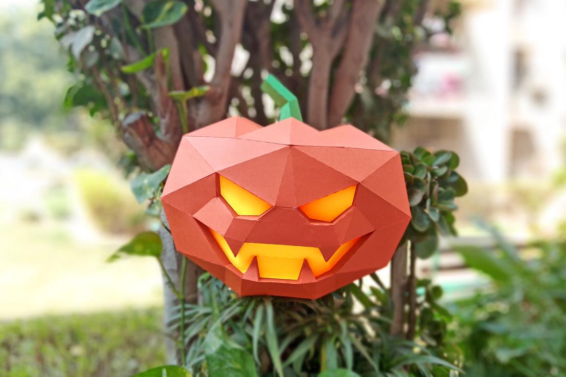 DIY Halloween Pumpkin lamp - 3d papercraft example image 8
