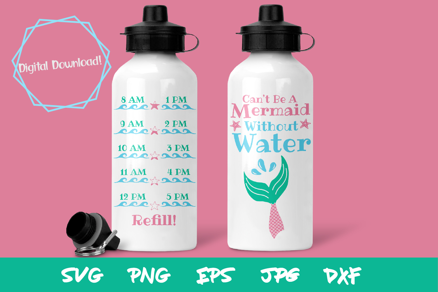 Mermaid SVG, waterbottle SVG, Kids SVG files, sublimation example image 1
