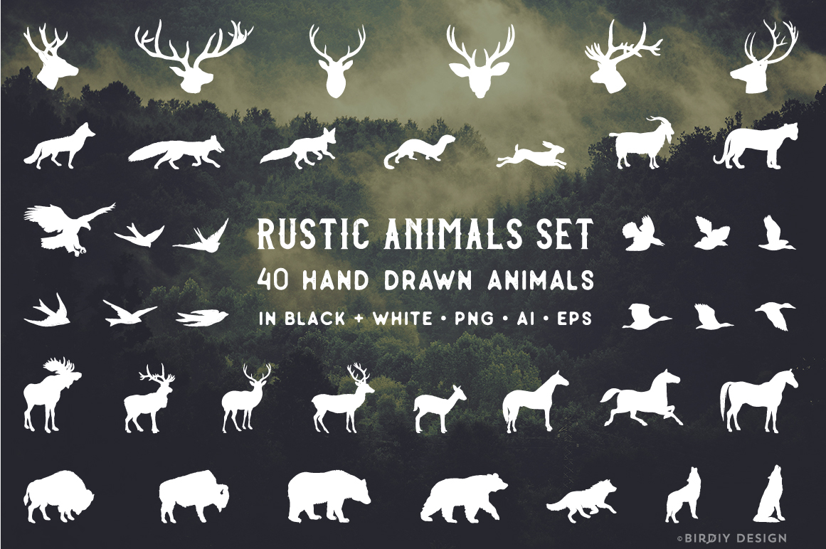 Rustic Animals Clipart - AI PNG EPS example image 2