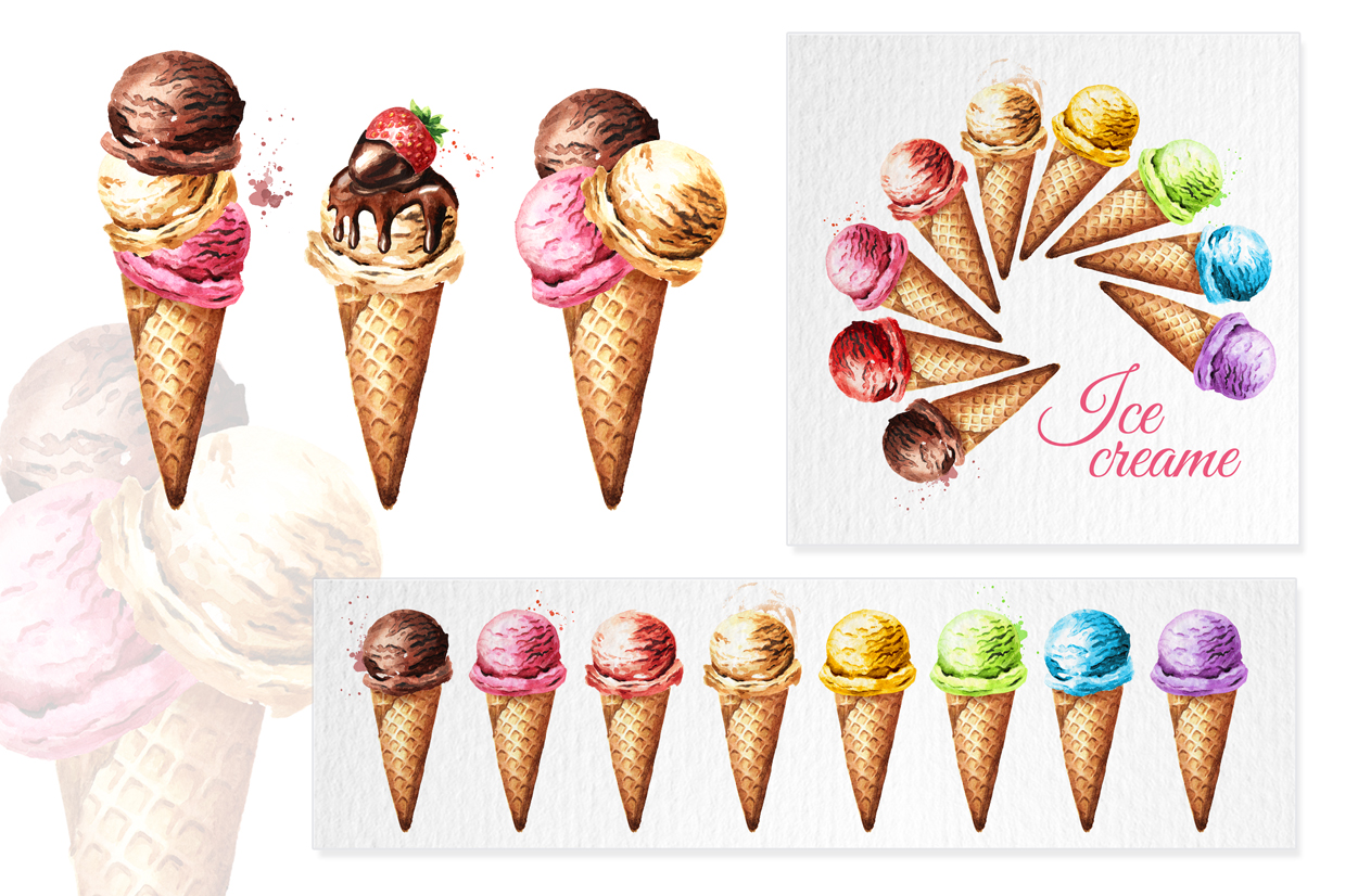 Ice cream. Watercolor collection example image 3