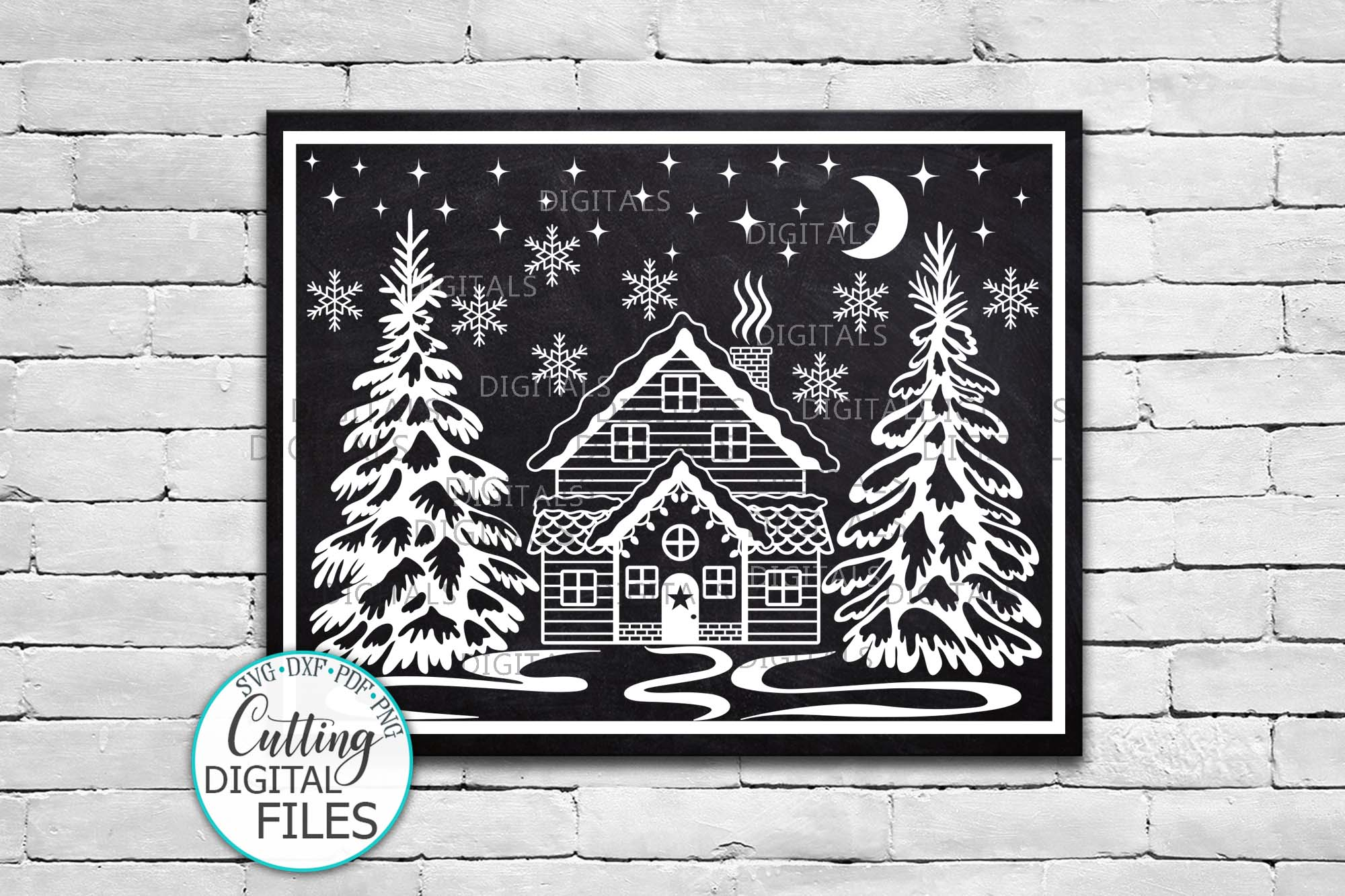 Winter Christmas House Scene Landscape with Trees svg cut example image 3