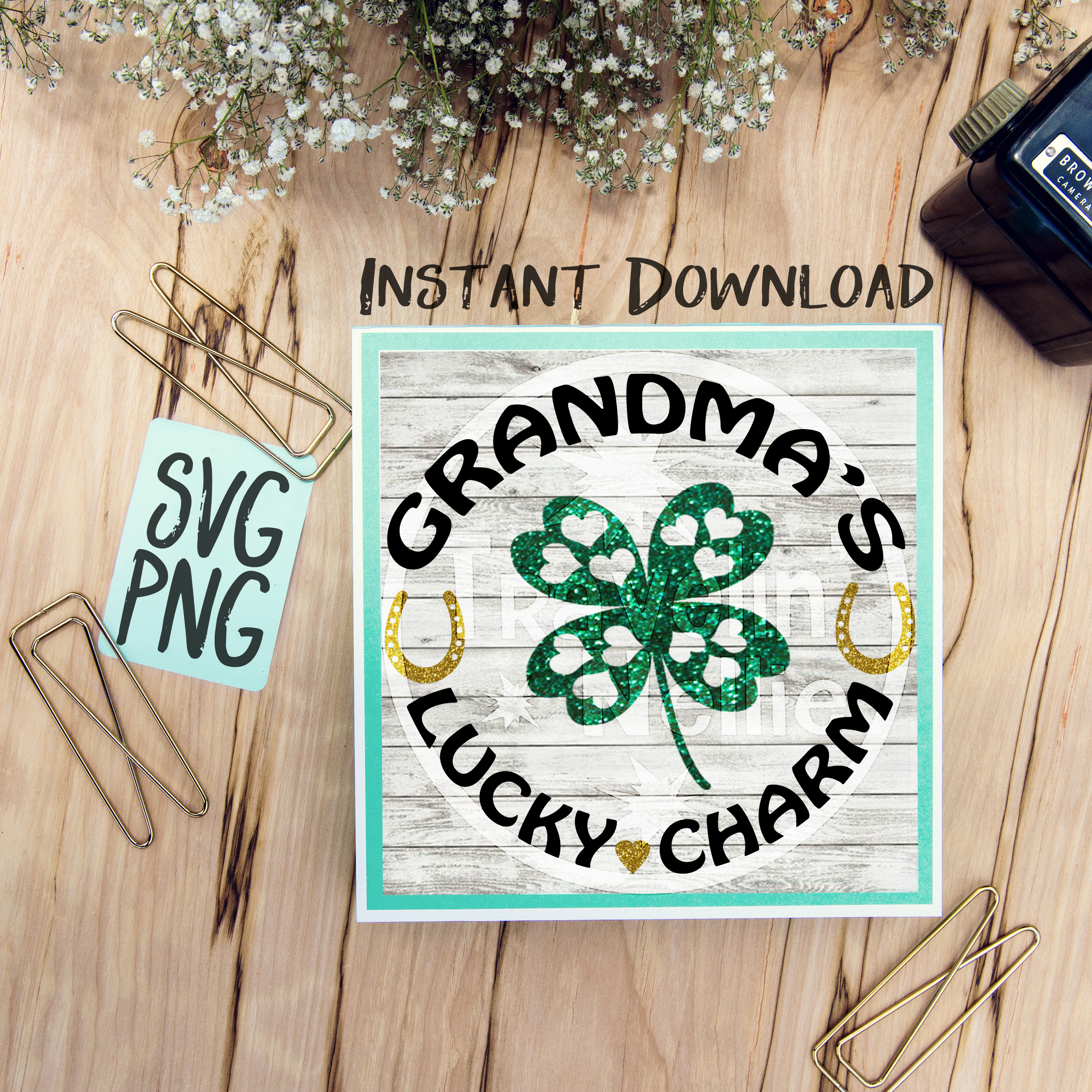 Grandma's Lucky Charm SVG PNG Cricut Cameo Silhouette Brother Scan & Cut Crafters Cutting Files for Vinyl Cutting Sign Making example image 1