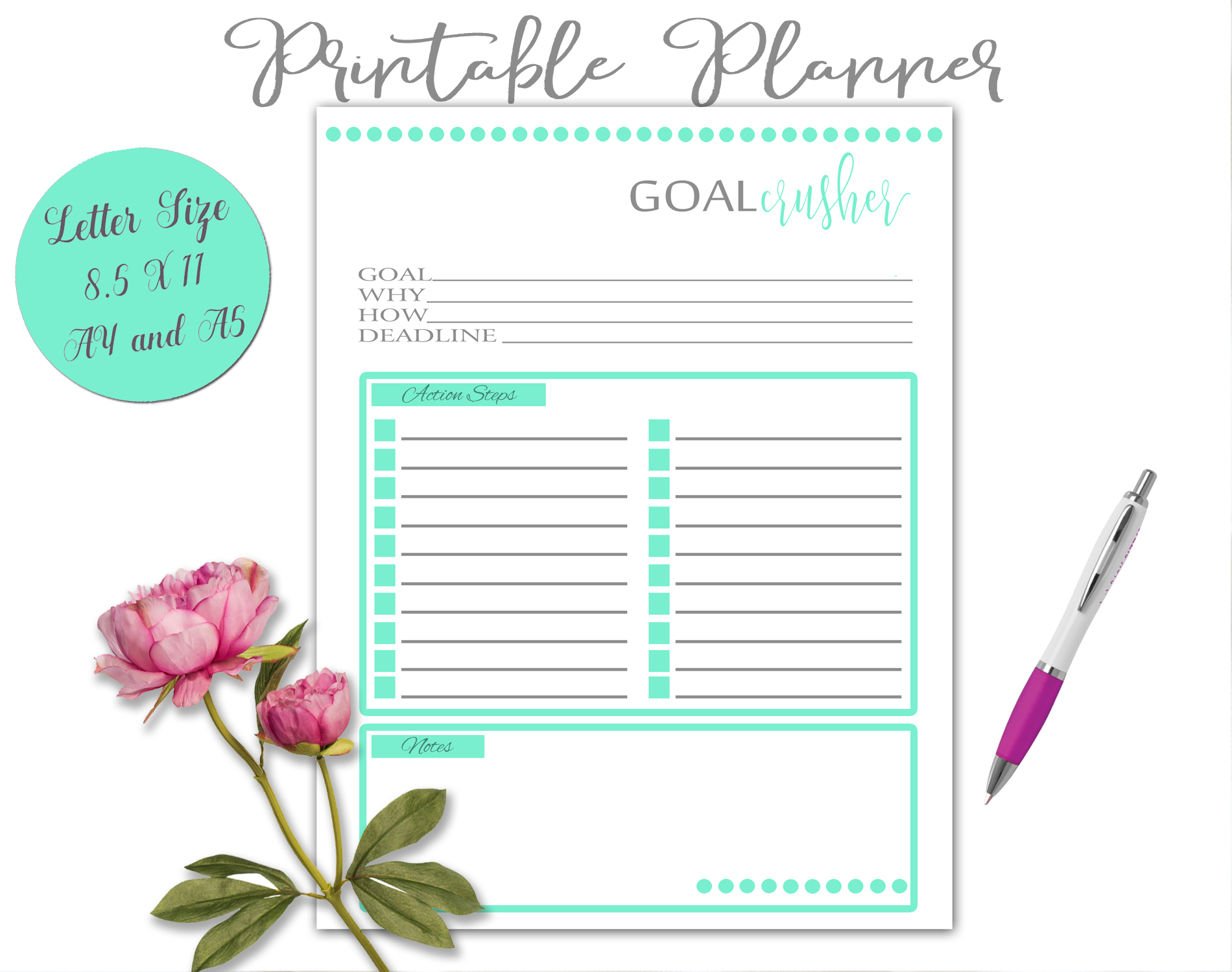 Printable Daily Weekly Monthly Planner Sheets example image 7