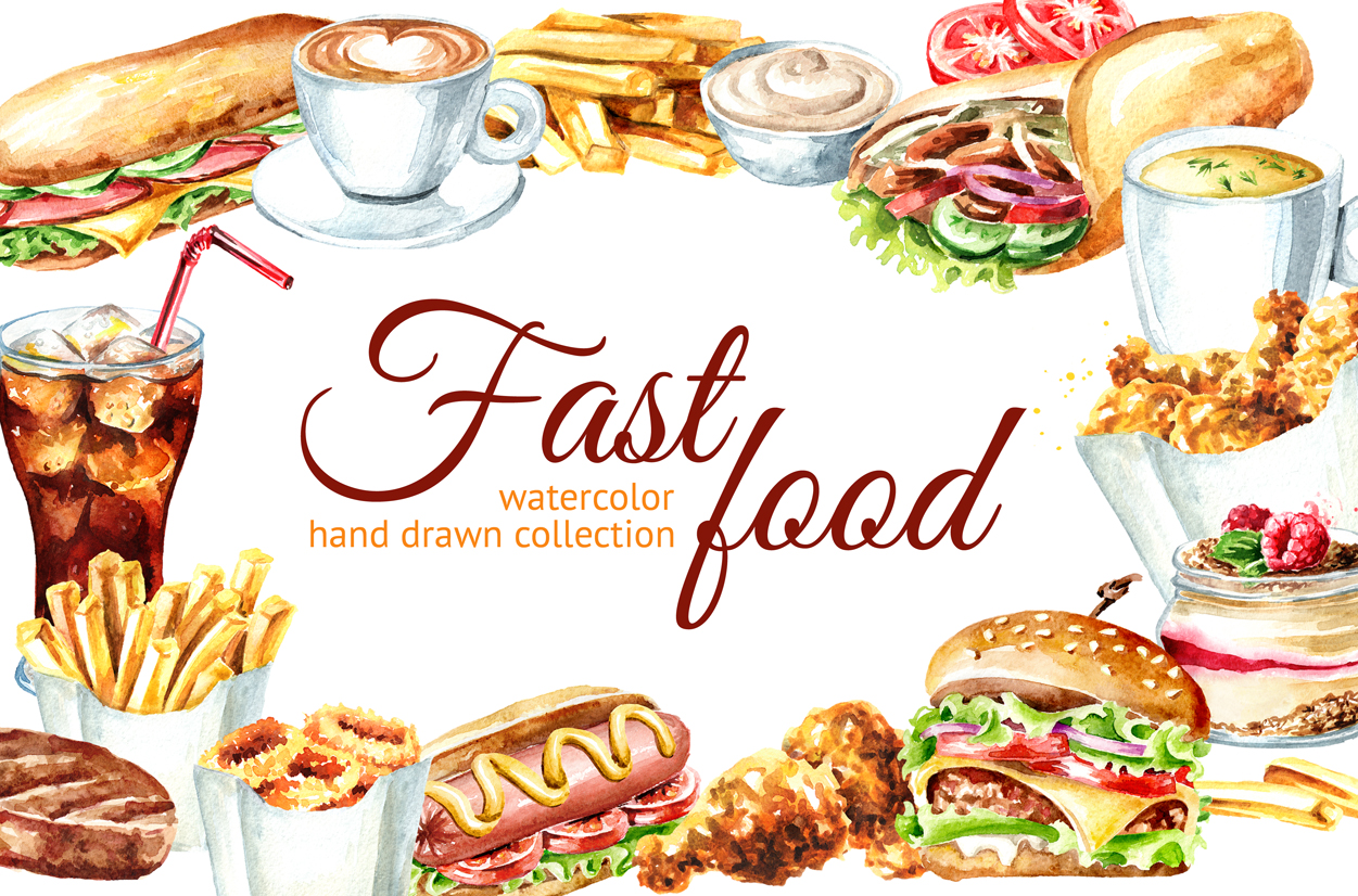 Fast food watercolor collection example image 1