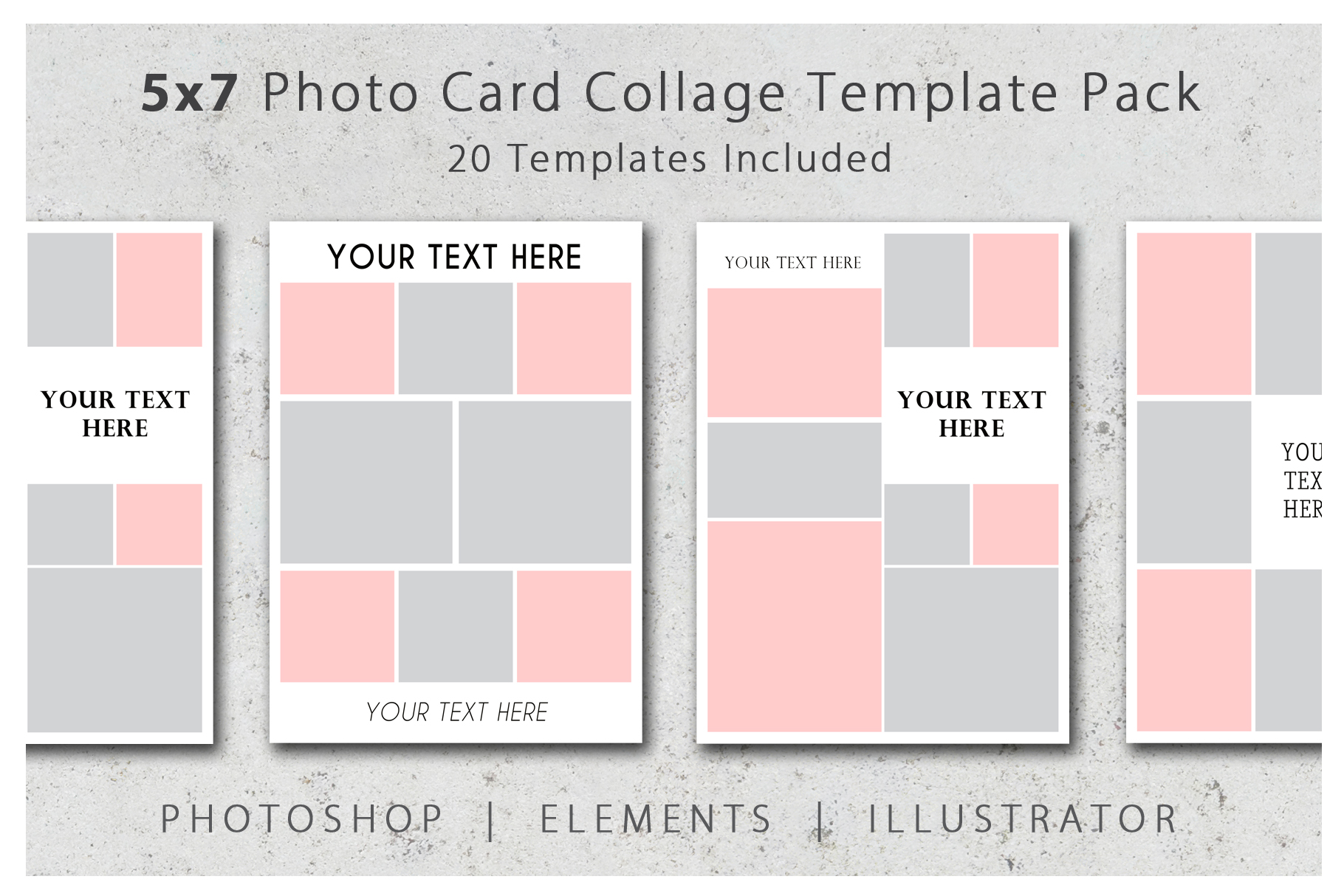 5x7 Photo Card and Invitation Collage Template Pack example image 1