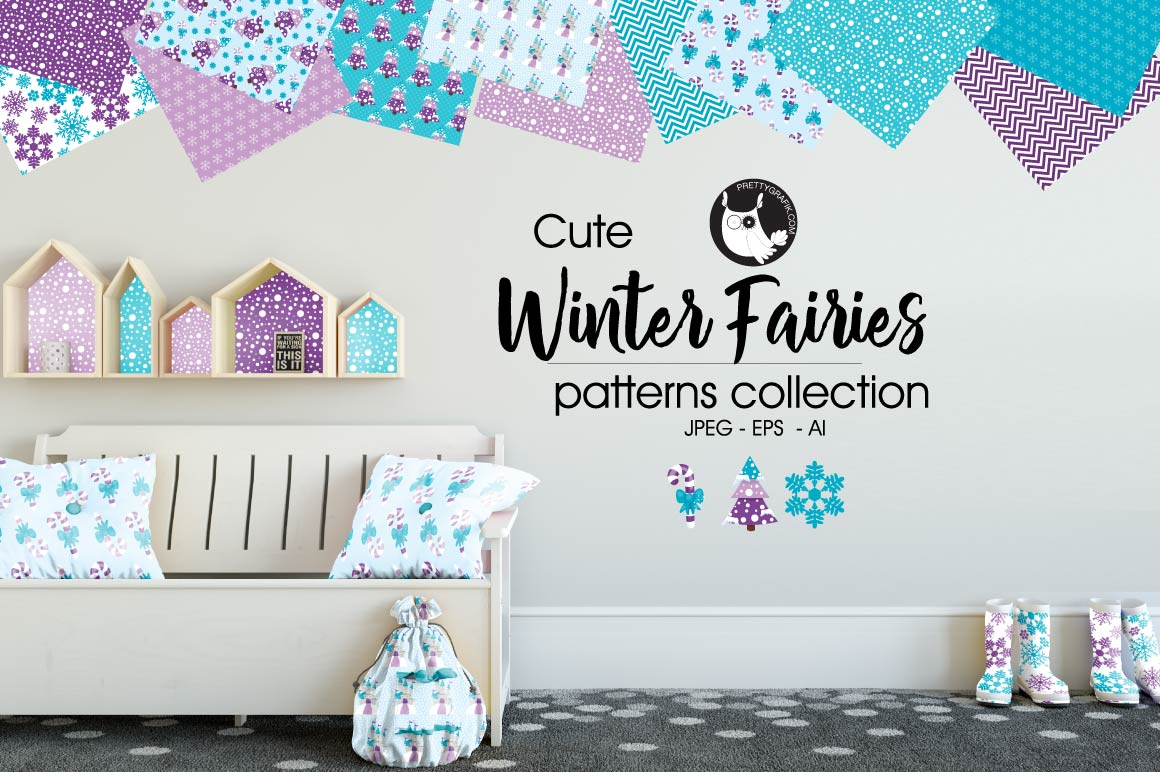 WINTER-FAIRIES, digital papers example image 1
