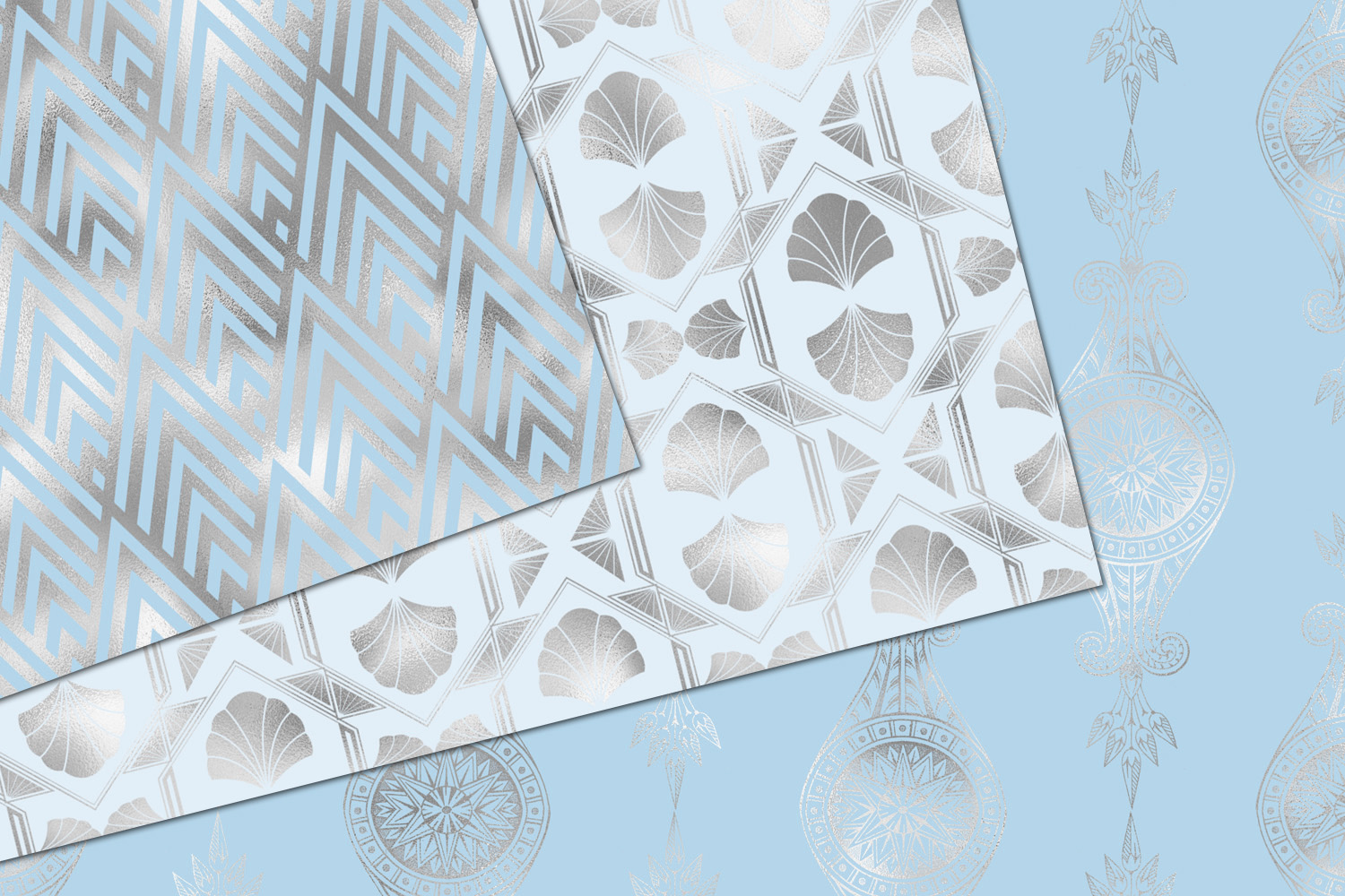 Blue and Silver Art Deco Digital Paper example image 2