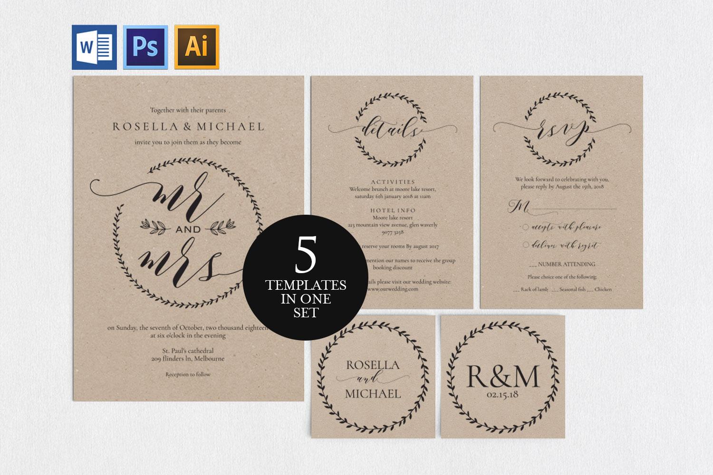 Wedding invitation set potrait, TOS_9 example image 1