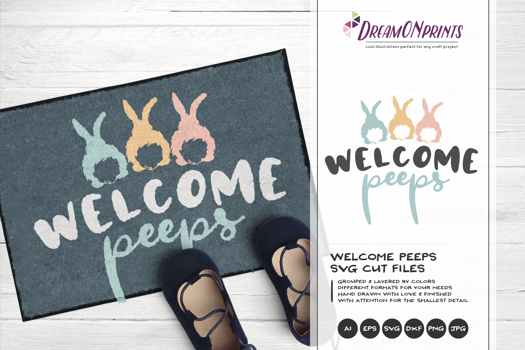 Welcome Peeps SVG - Easter Bunnies SVG example image 1