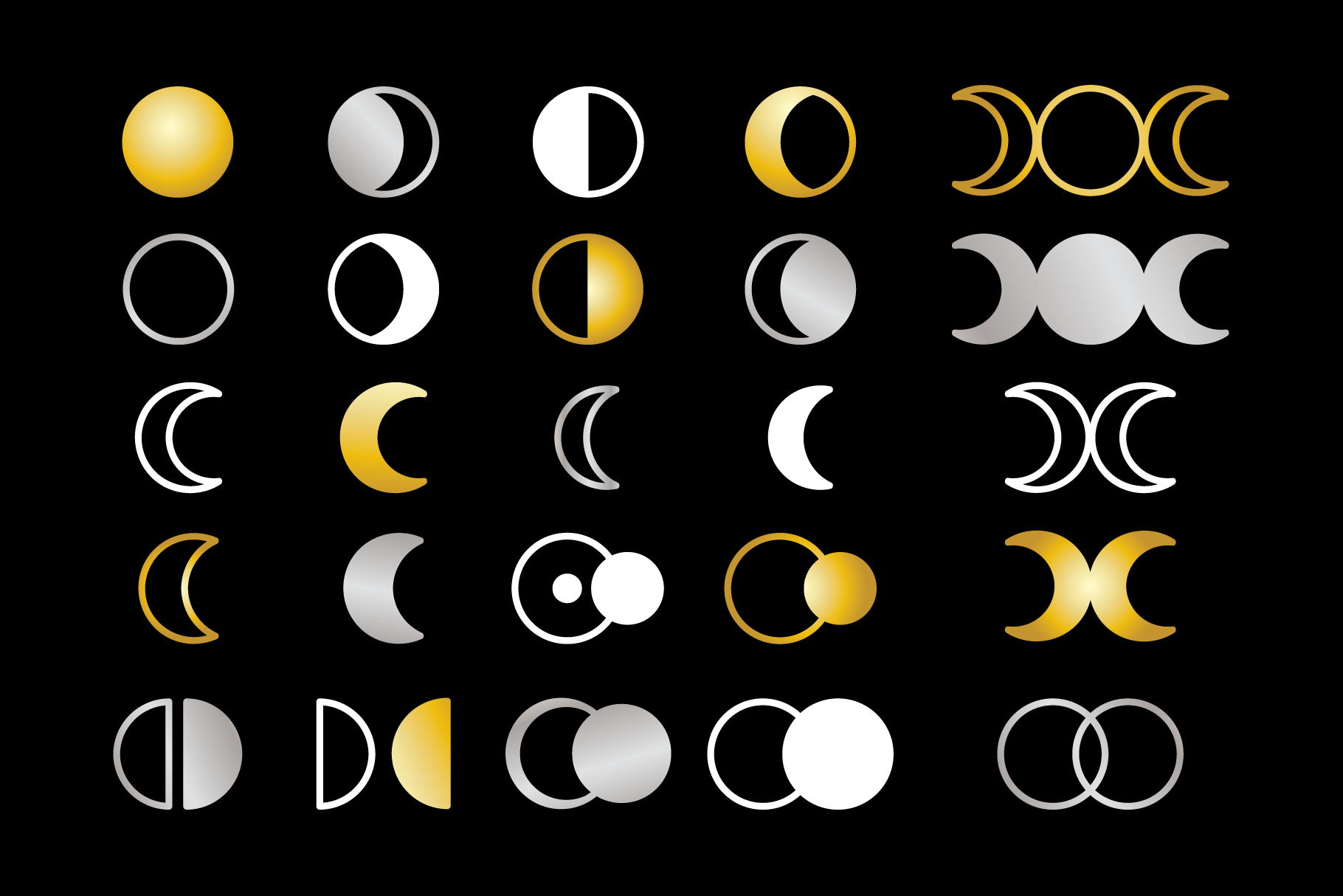 Moon Cycle Icons Clip Art Set example image 2