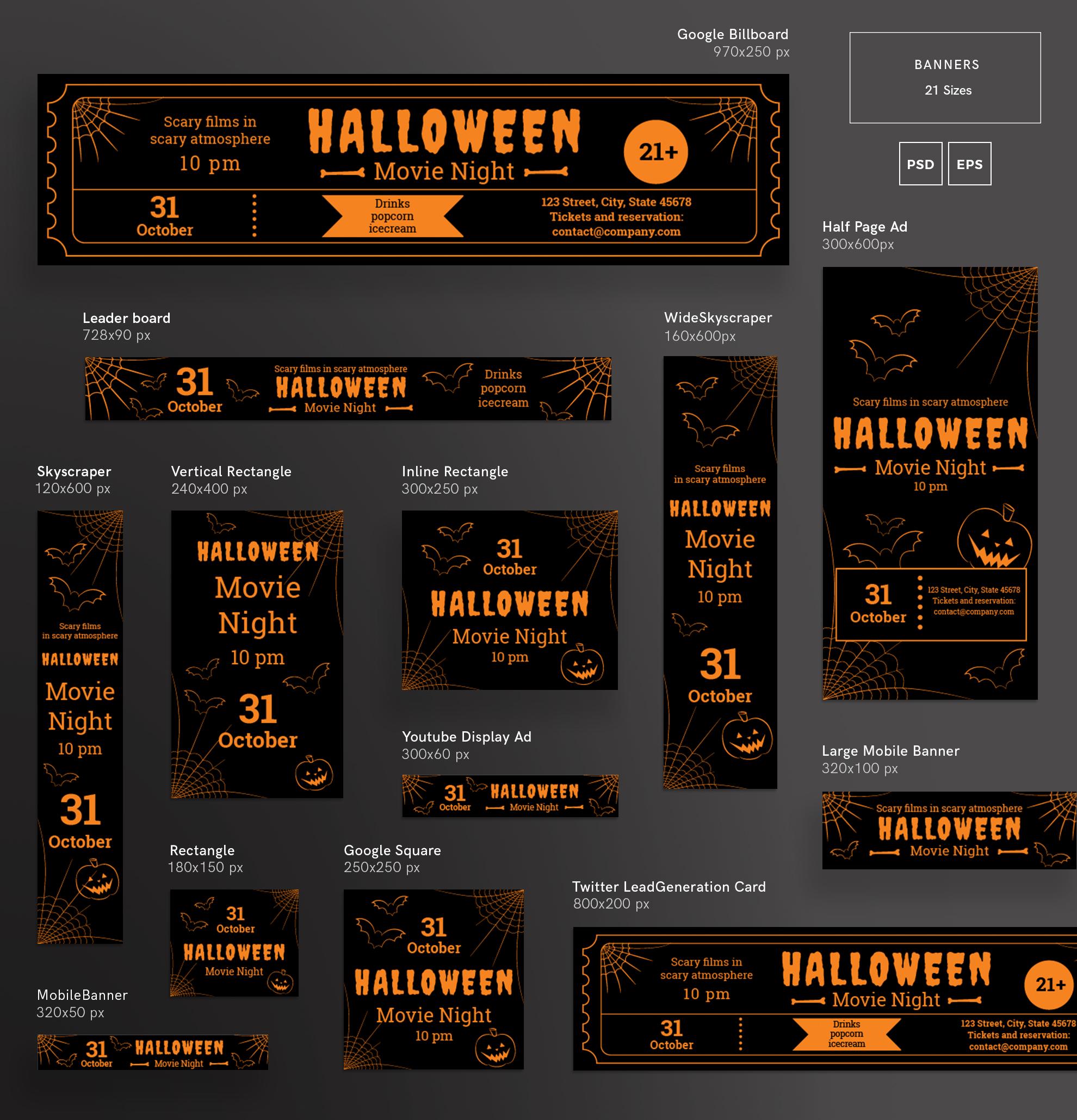 Halloween Movie Night Design Templates Bundle example image 5