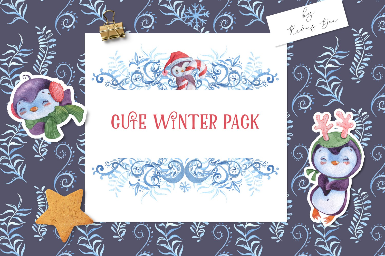 Christmas Penguins Pack CLIPARTS, DIGITAL PAPERS, BORDERS example image 8