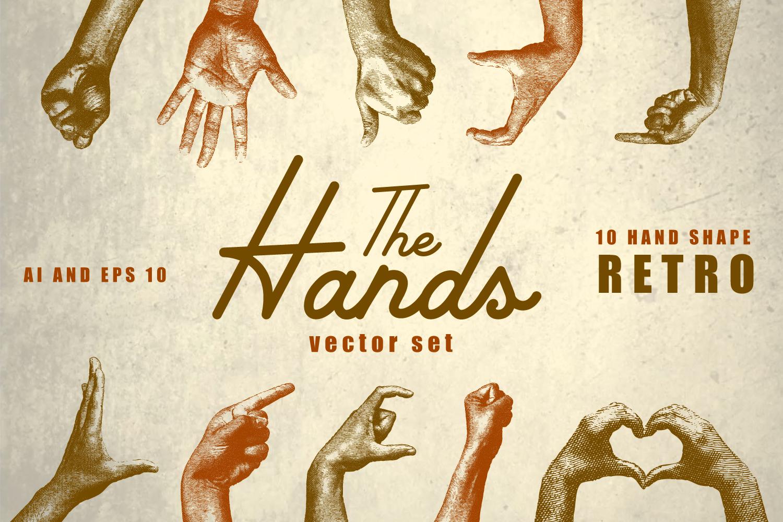 10 Vintage Hands Retro Vector Set AI, EPS example image 1
