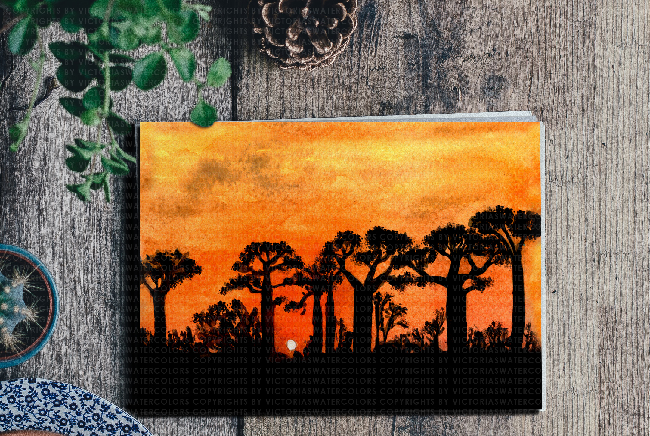 Watercolor Landscape Bundle Watercolor Beach Sunset Galaxy Texture Watercolor Farm Windmill example image 2