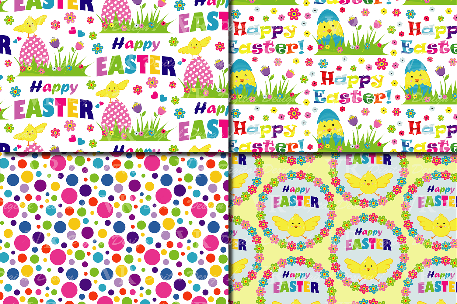 Bright Easter Digital Paper / Happy Easter chick and eggs backgrounds / Easter pattern / Scrapbooking paper example image 4