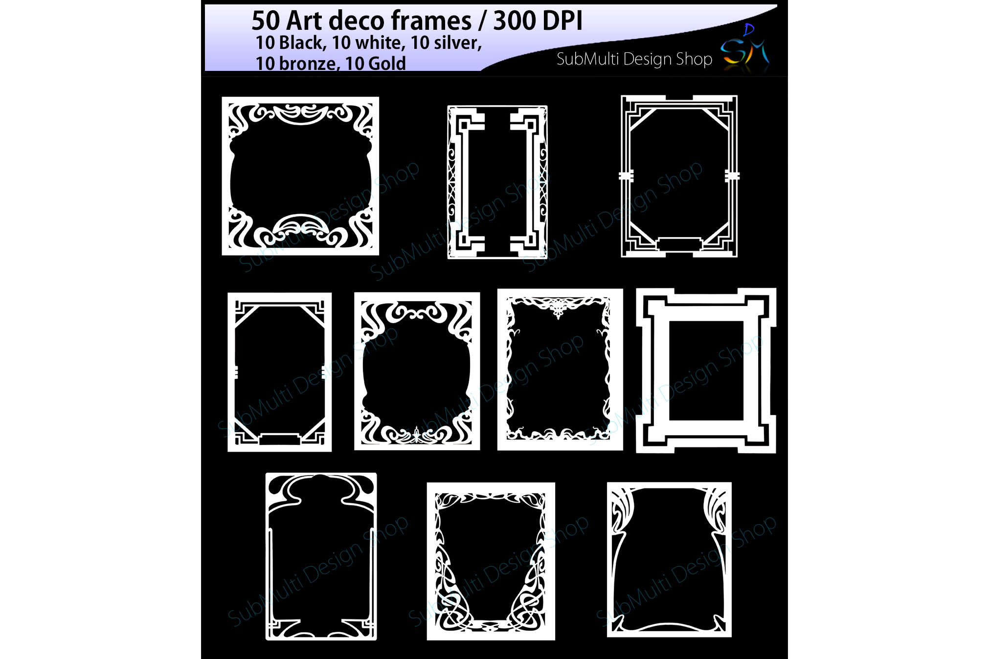 art deco frames / art deco frames clipart / art deco frames silhouette / art deco gold frames / art deco silver frame / High Quality example image 5
