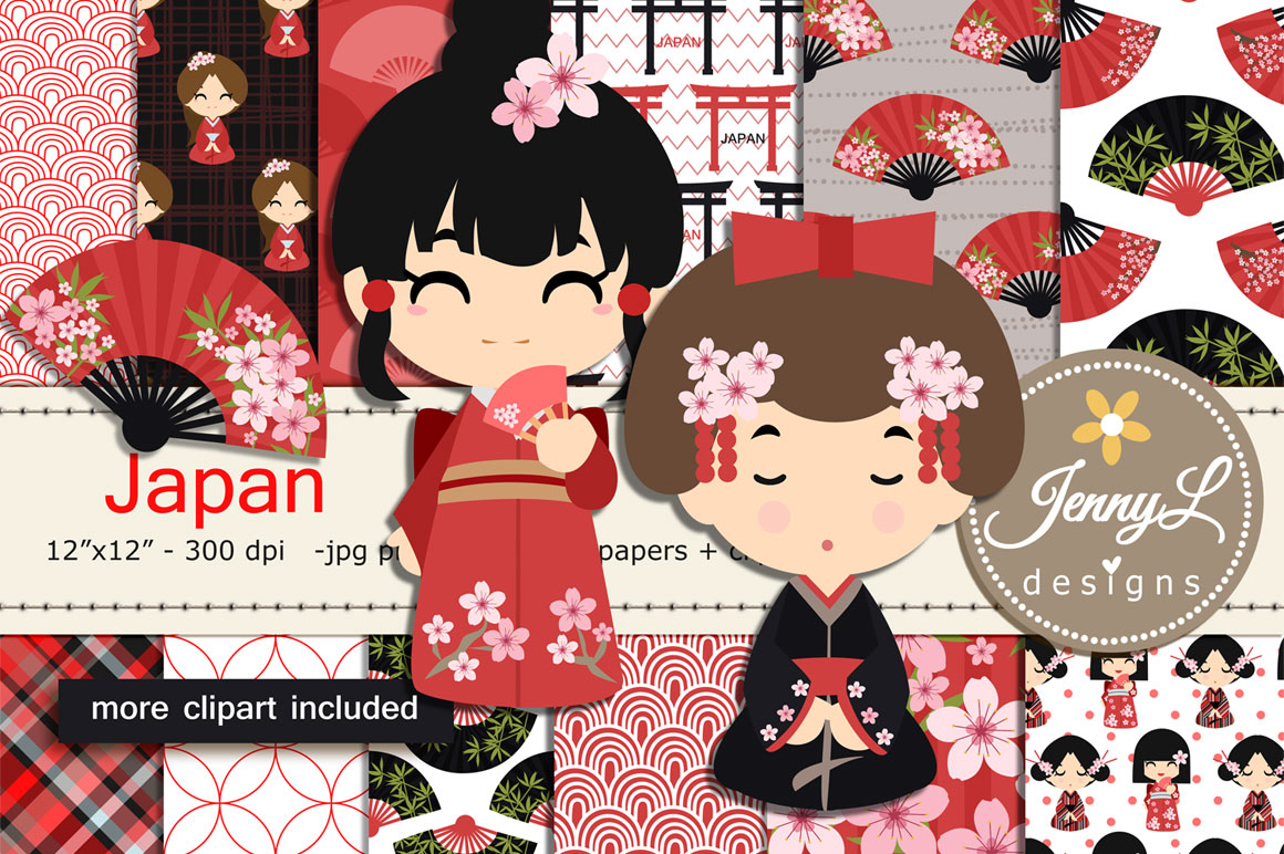 Japan Digital Papers and Japanese Clipart SET example image 1