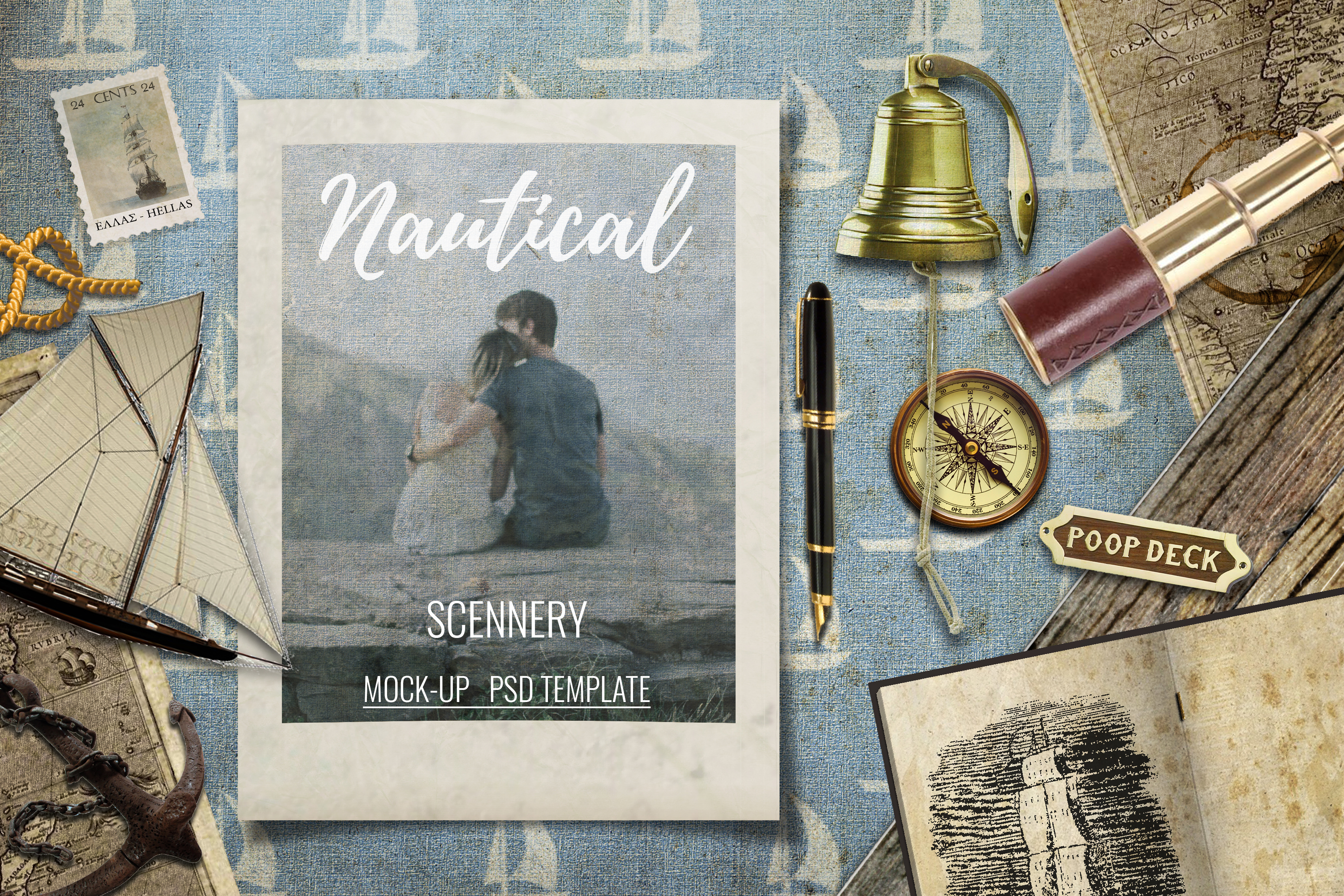 24 Nautical Vintage Background Papers - JPG example image 2