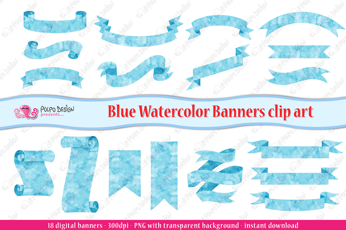 Blue Watercolor Banner clip art example image 3