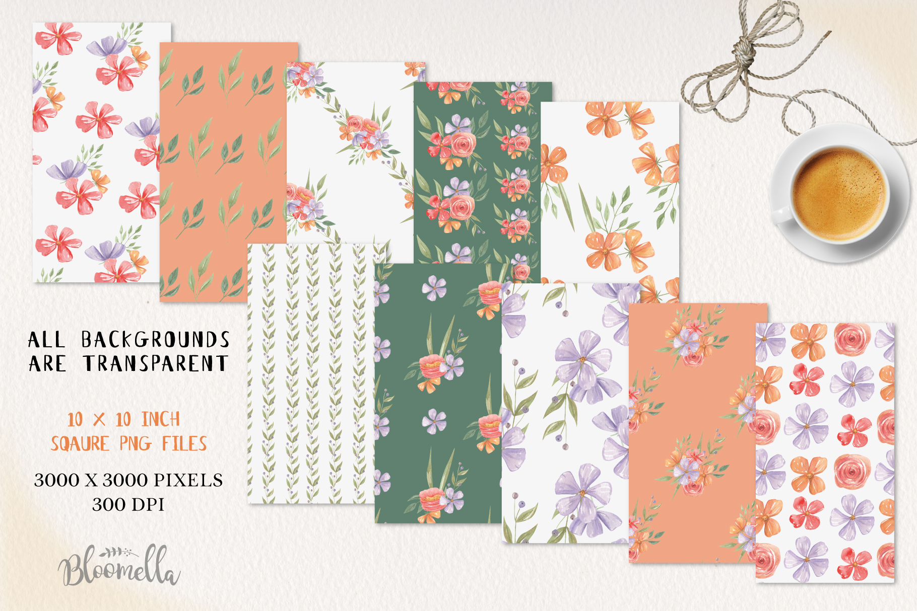 Floss Florals 10 Seamless Patterns Digital Papers Pretty example image 3