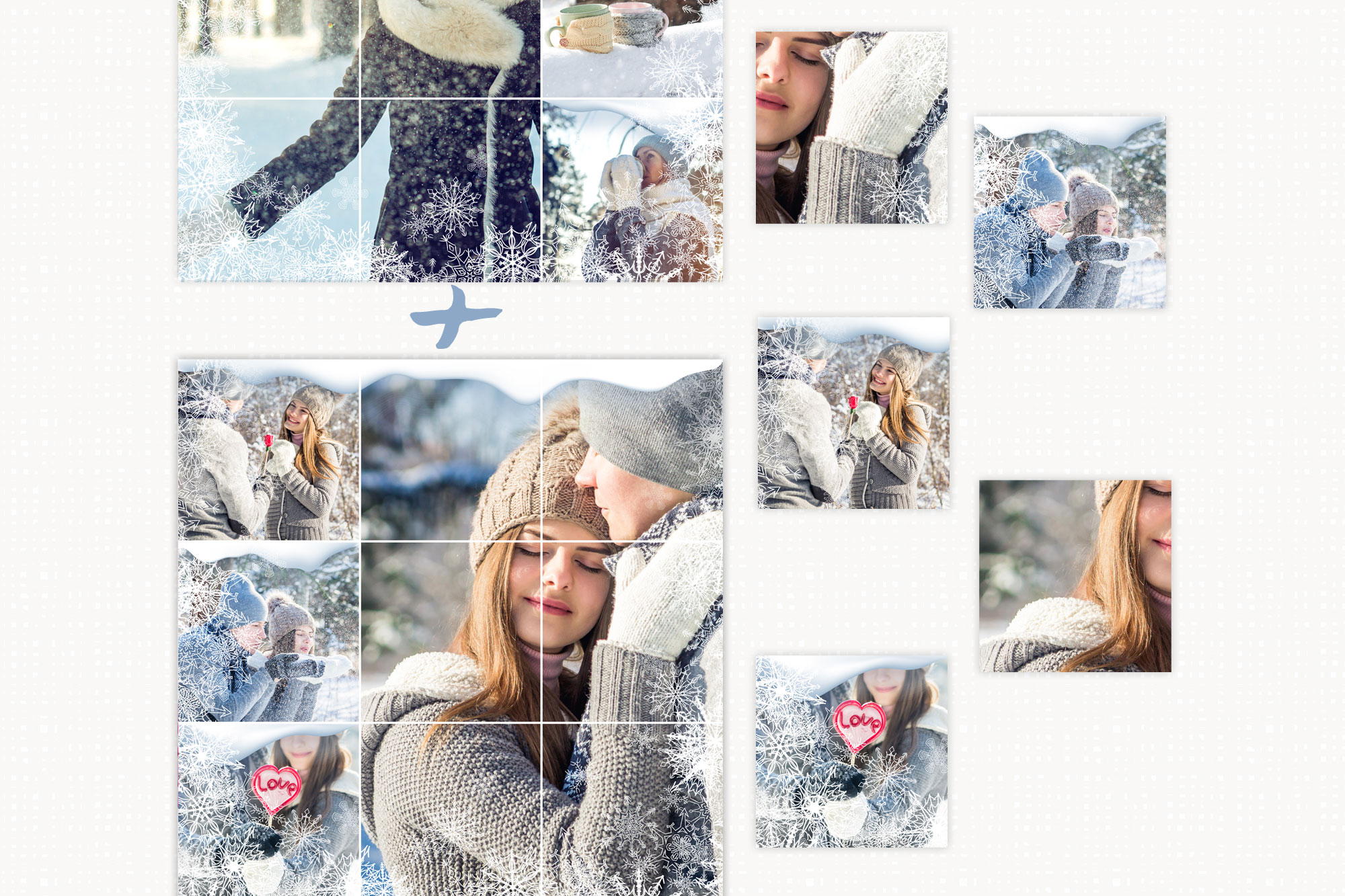 Winter Instagram Puzzle Template, Post Template example image 3