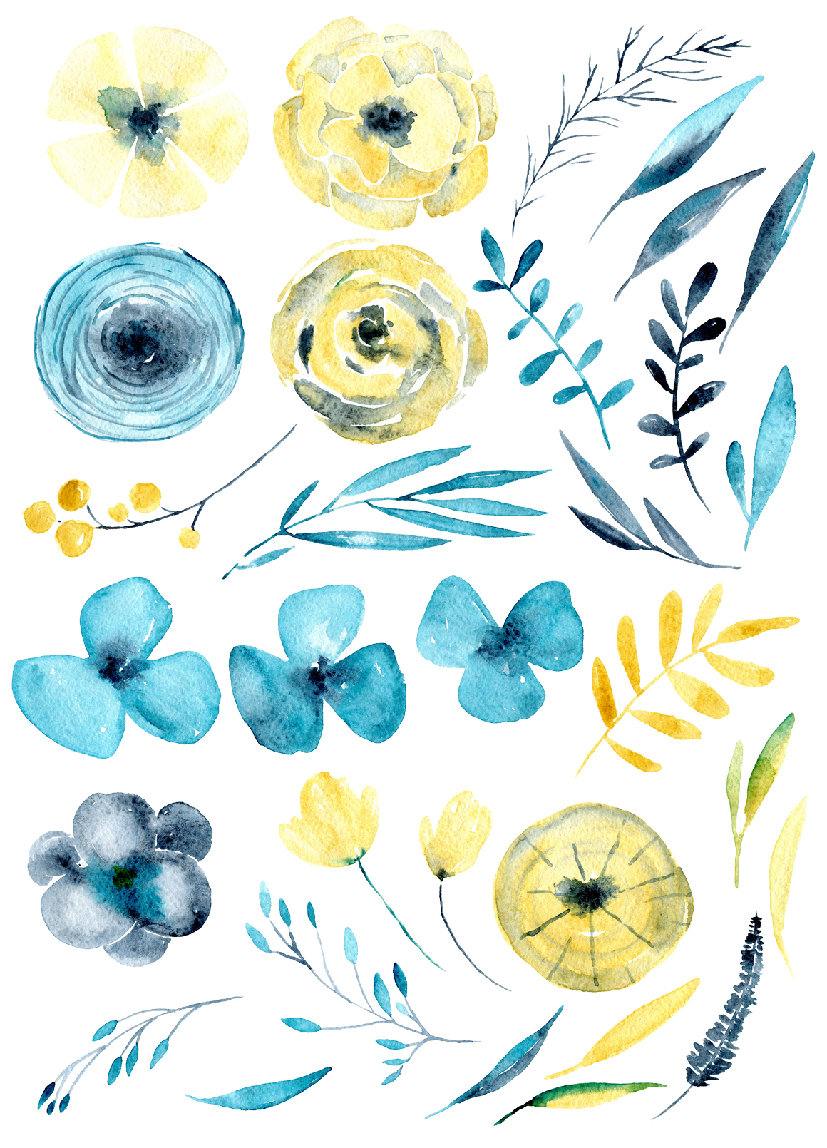 Yellow & blue watercor flowers png example image 2