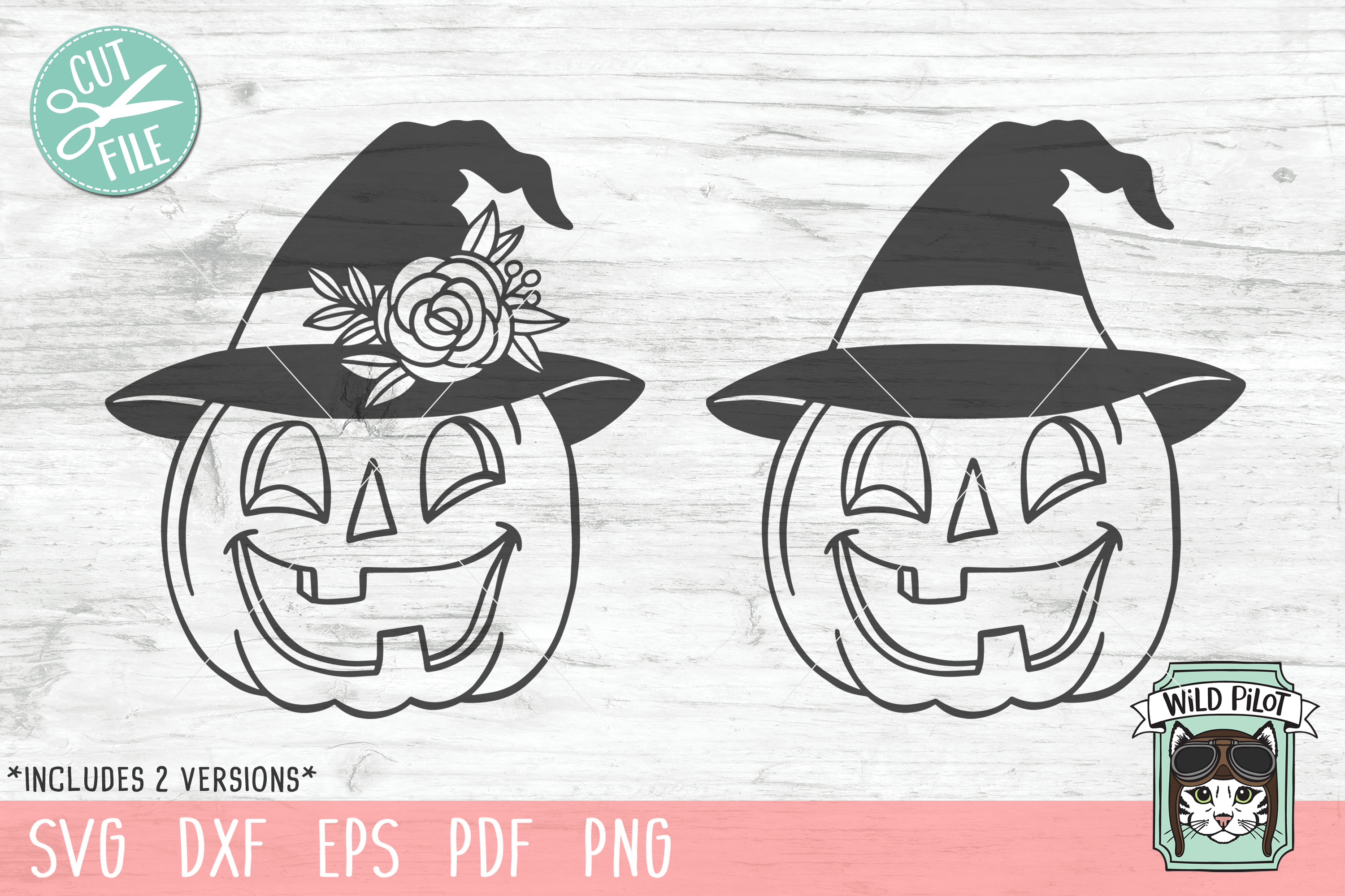 Pumpkin witch hat svg file, Jack o lantern cut file example image 2