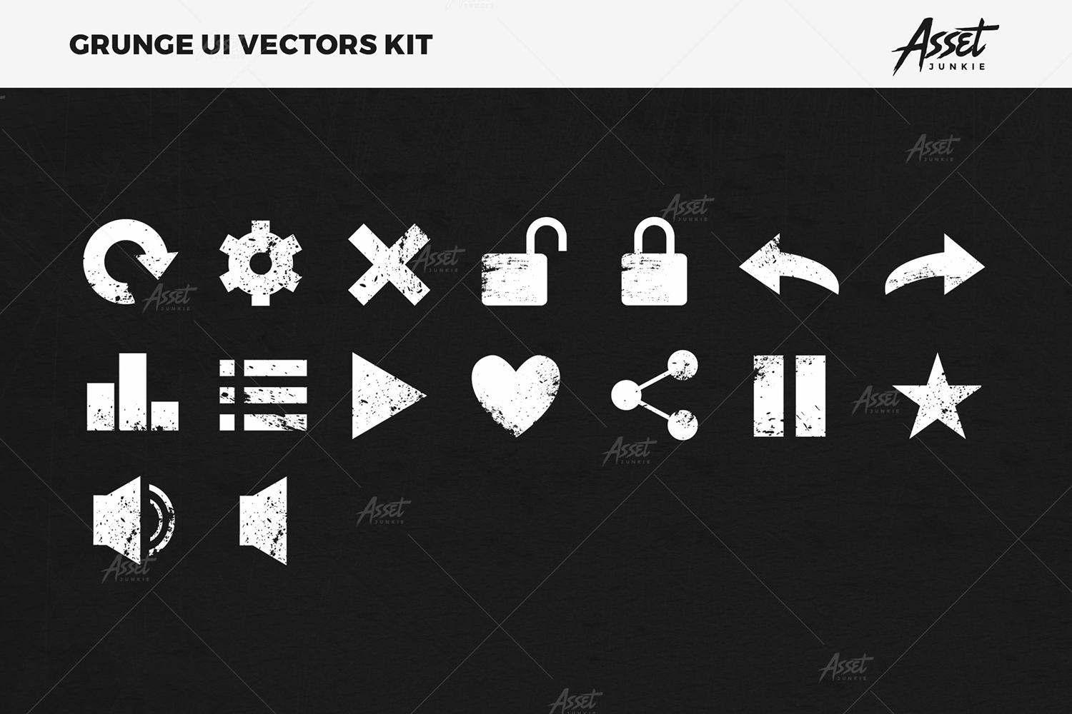 Grunge UI Vectors Kit example image 9