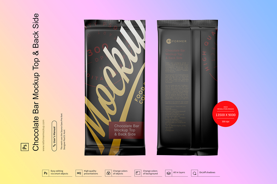 Chocolate Bar Mockup Top & Back Side View example image 2
