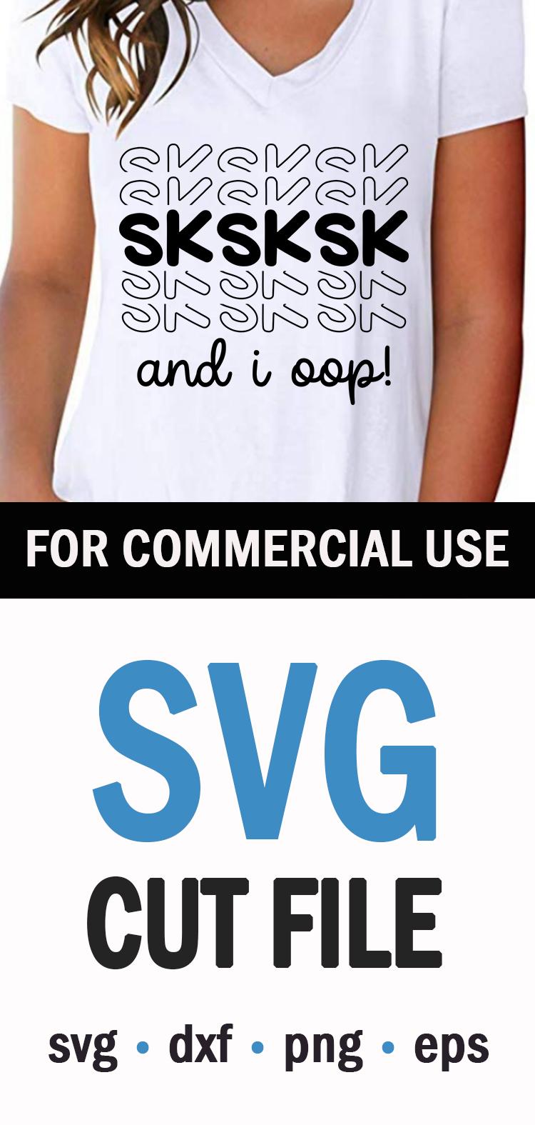 VSCO Girl - Sksksk - And I Oop - SVG, PNG, EPS, DXF example image 3