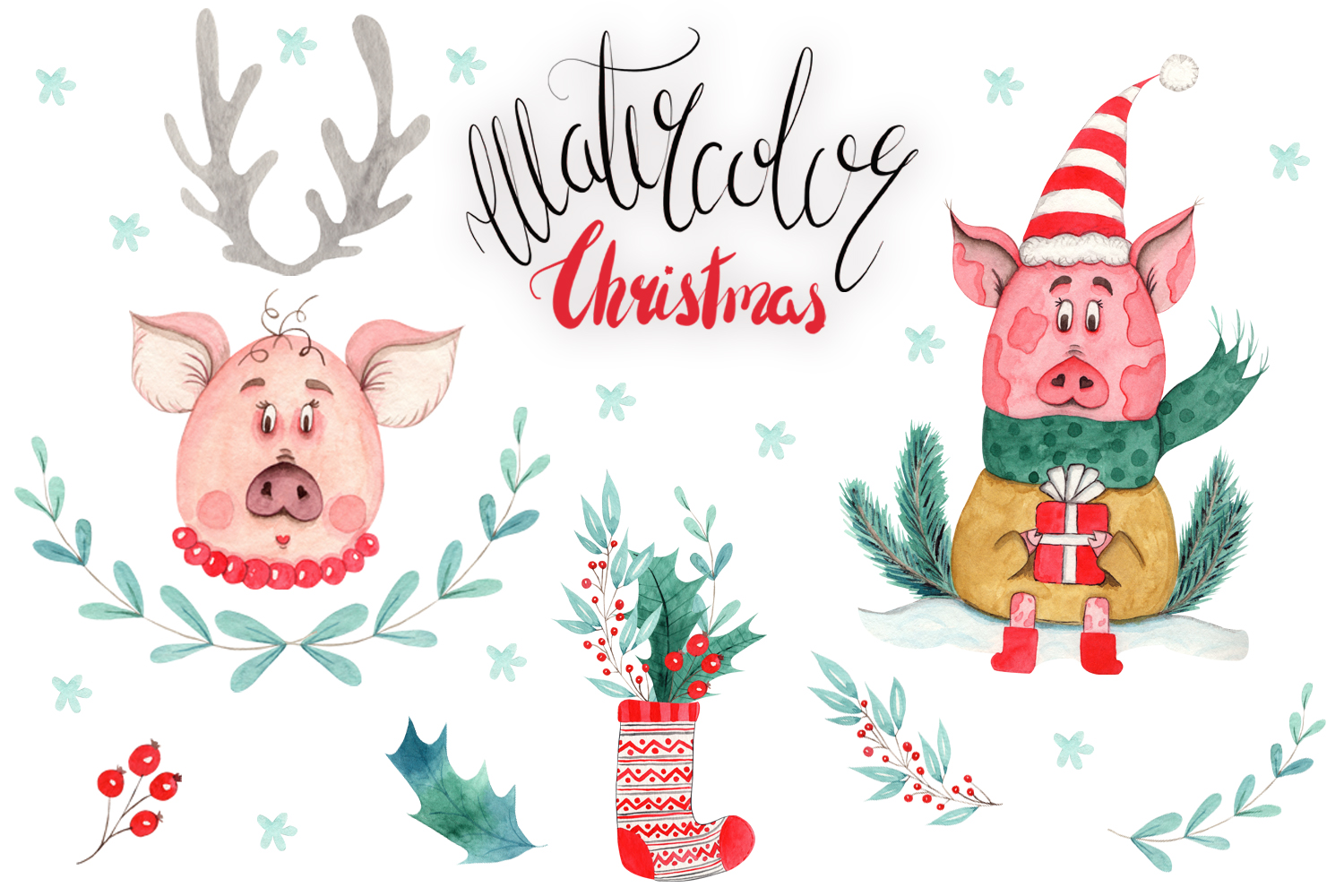 Watercolor Christmas Pig Collection example image 3