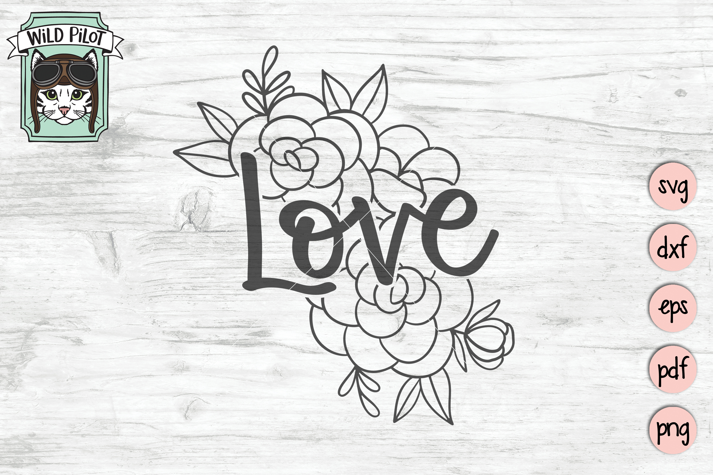 Love SVG file, Love cut file, Flowers, Floral example image 1