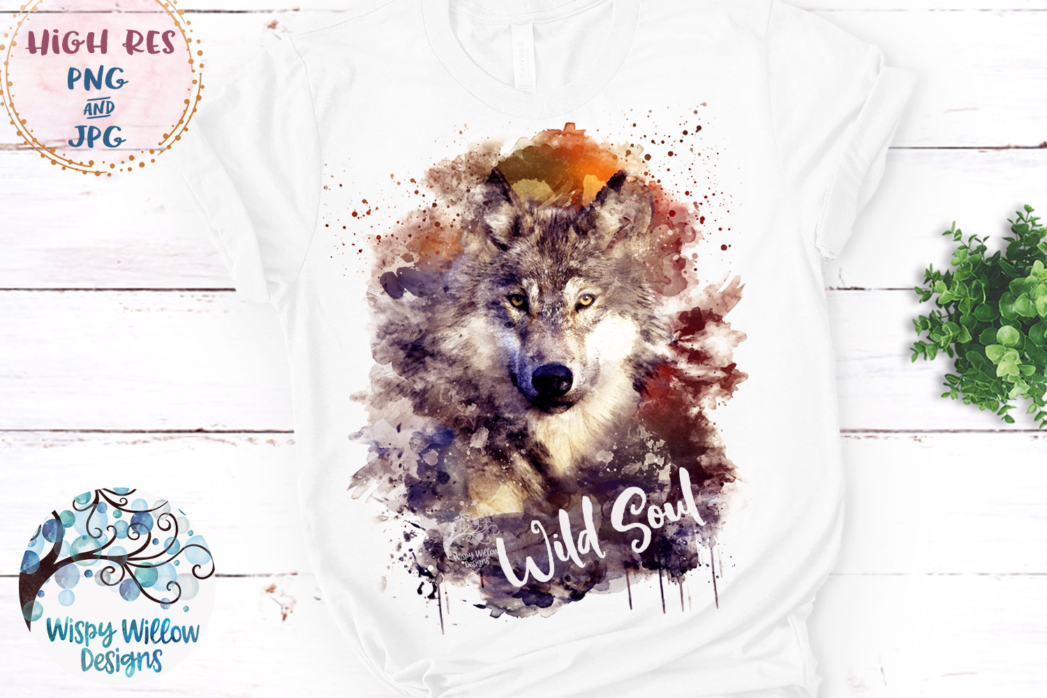 Watercolor Wolf Wild Soul | PNG and JPG | Sublimation example image 2