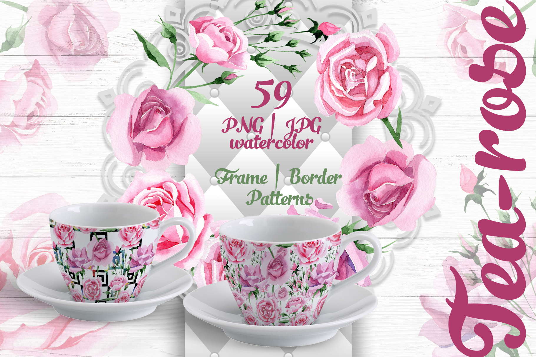 Tea-rose PNG watercolor set example image 1