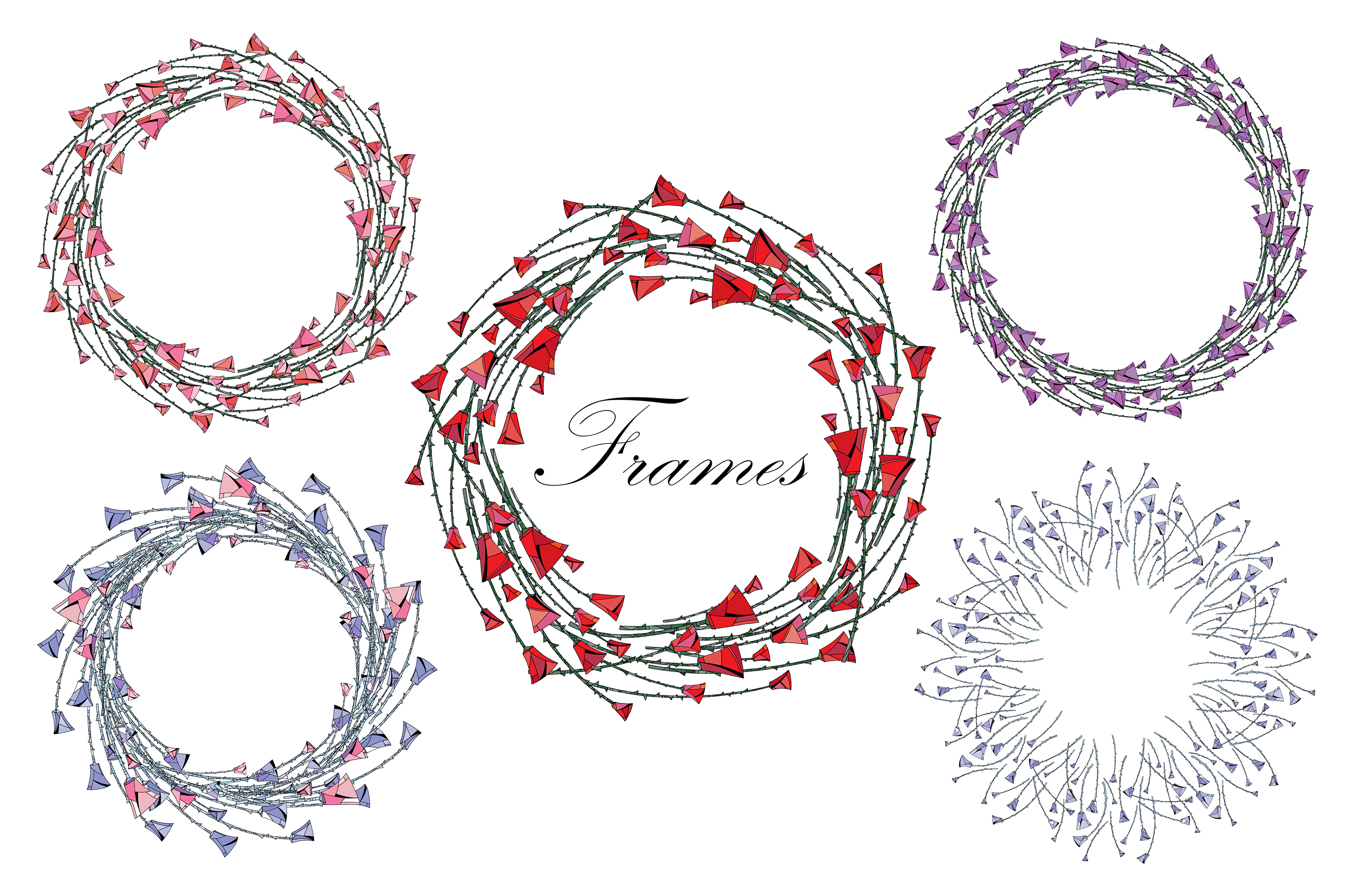 Roses patterns and frames. Flowers vector illustrations. example image 3