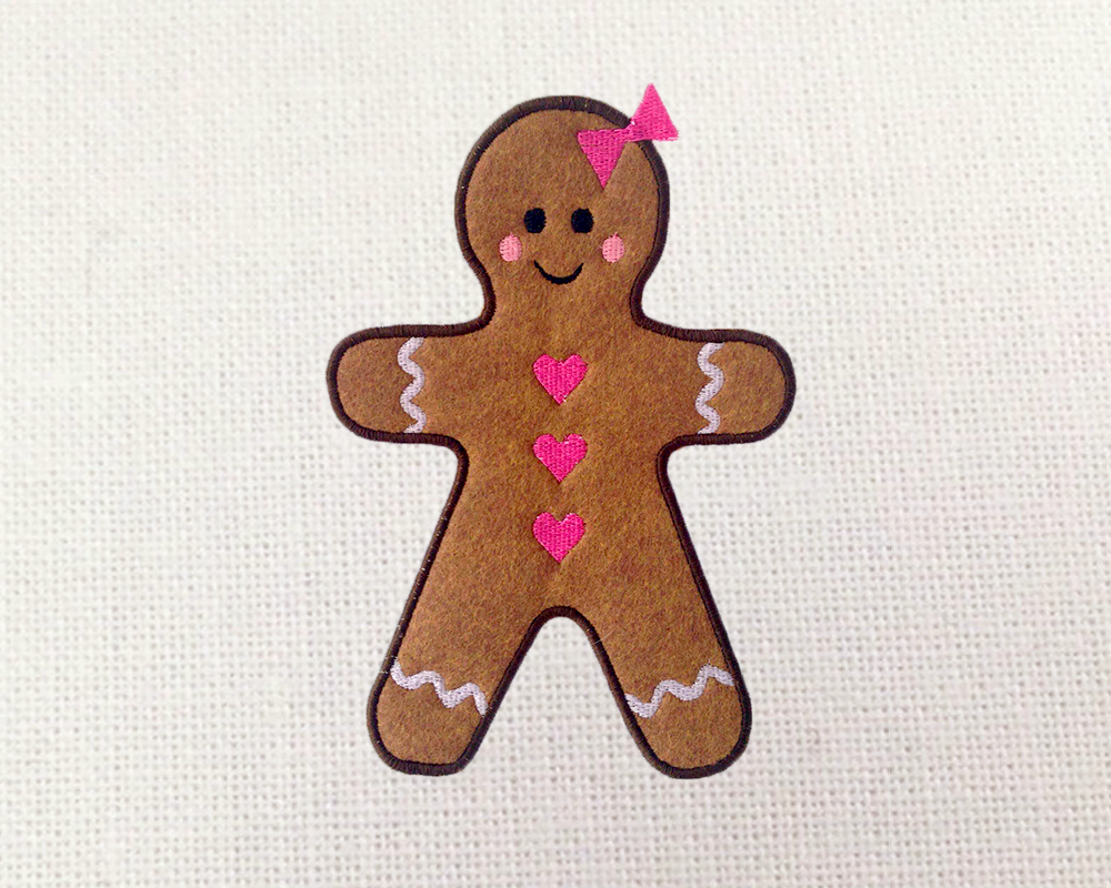 Gingerbread Girl Applique Embroidery De Design Bundles