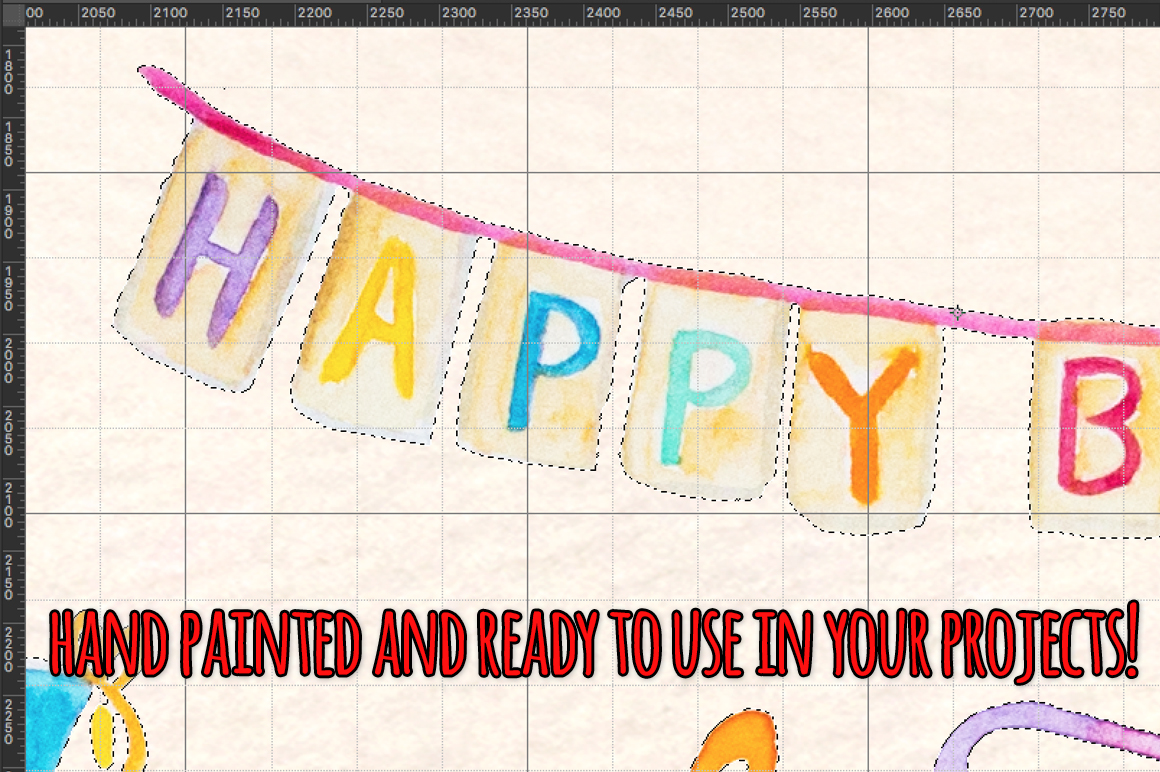 51 Happy Birthday Cute Watercolor Party Elements example image 3