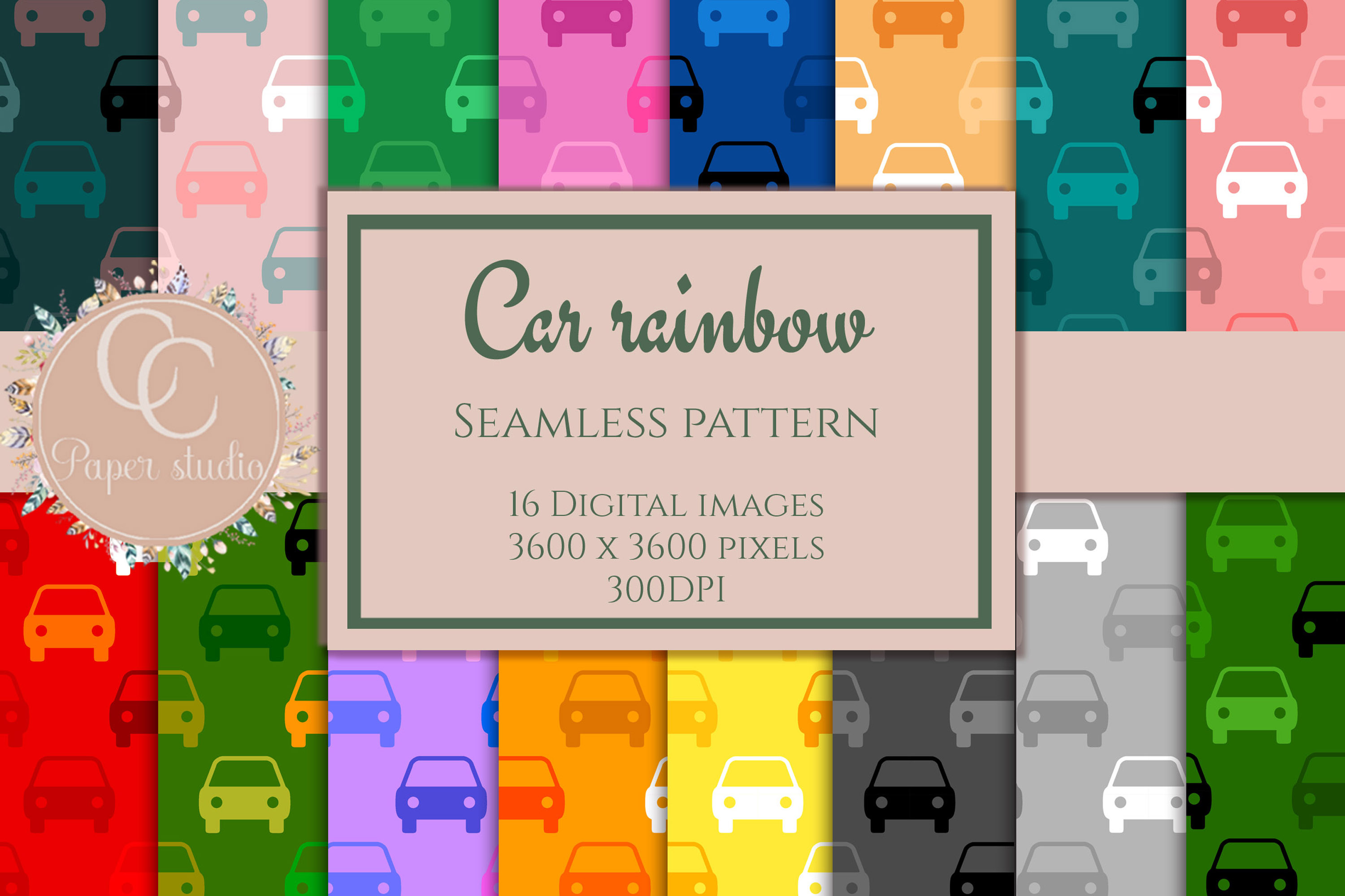16 Rainbow coloured car pattern digital paper example image 1
