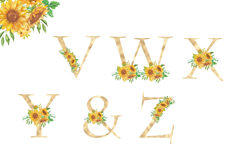 Sunflowers Floral printable alphabet, Gold foil alphabet example image 5