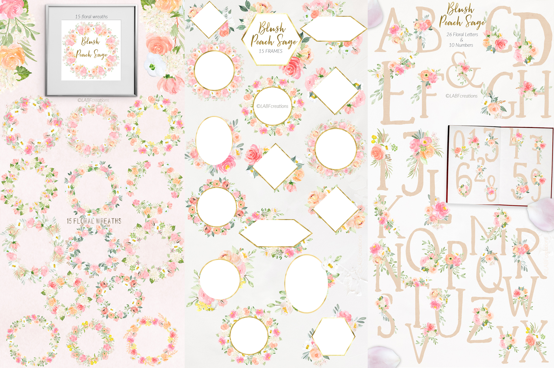 Blush Peach Sage Watercolor flowers clipart example image 9