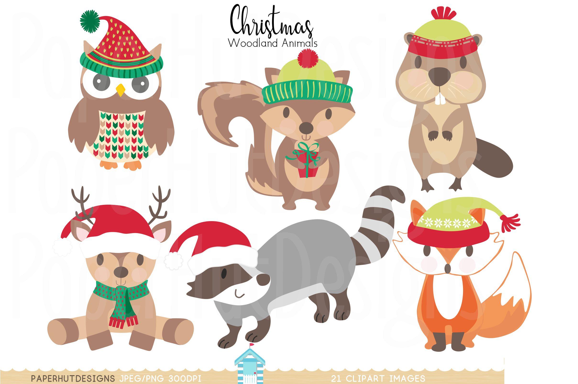 Christmas Woodland Animals Clipart example image 2